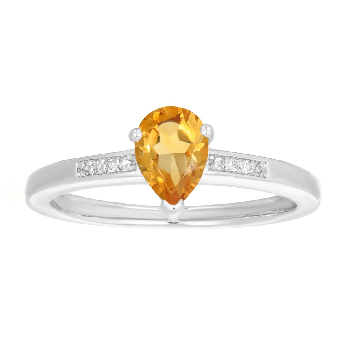 Pear Shaped Citrine & White Topaz Ring in Sterling Silver