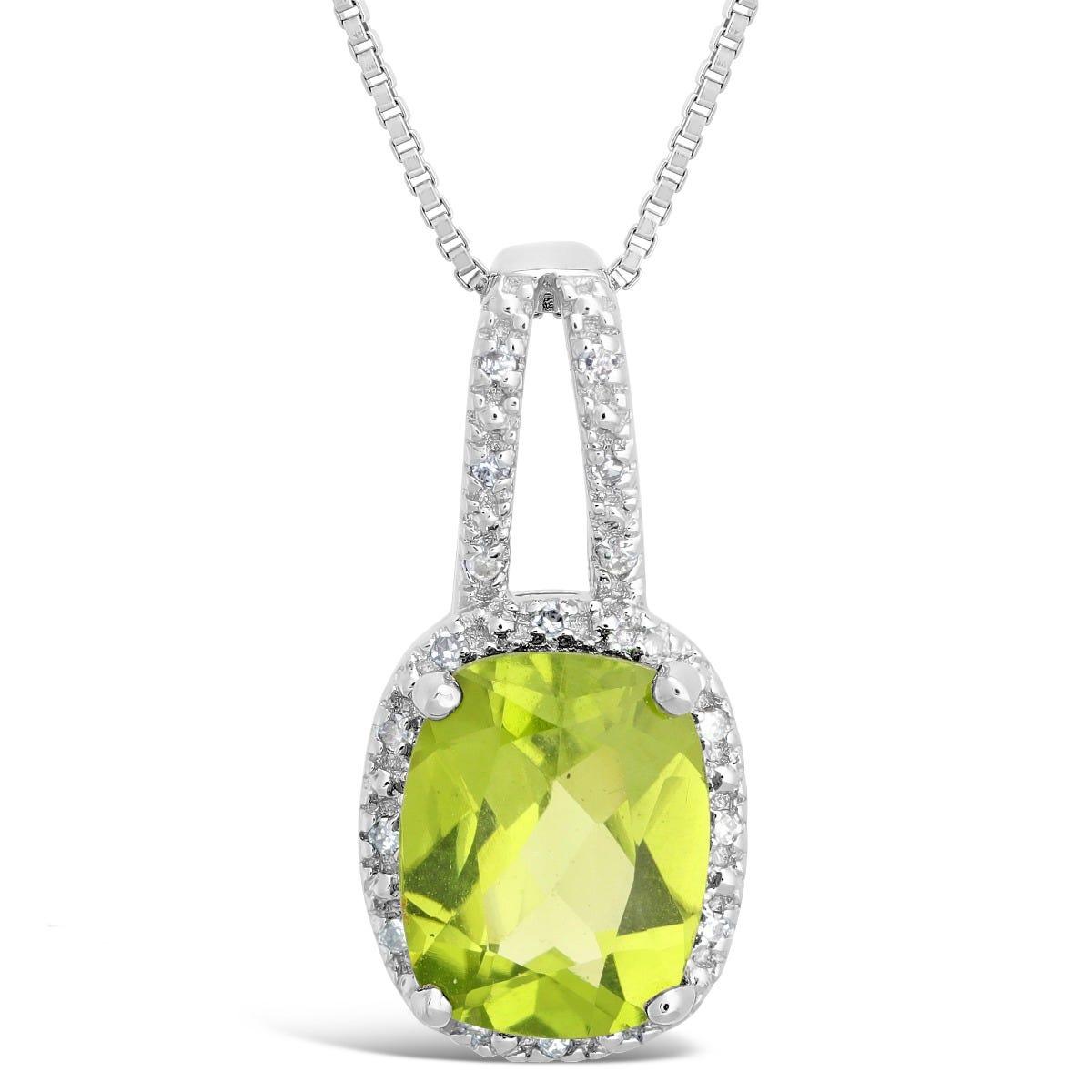 Peridot & Diamond Halo Pendant in Sterling Silver