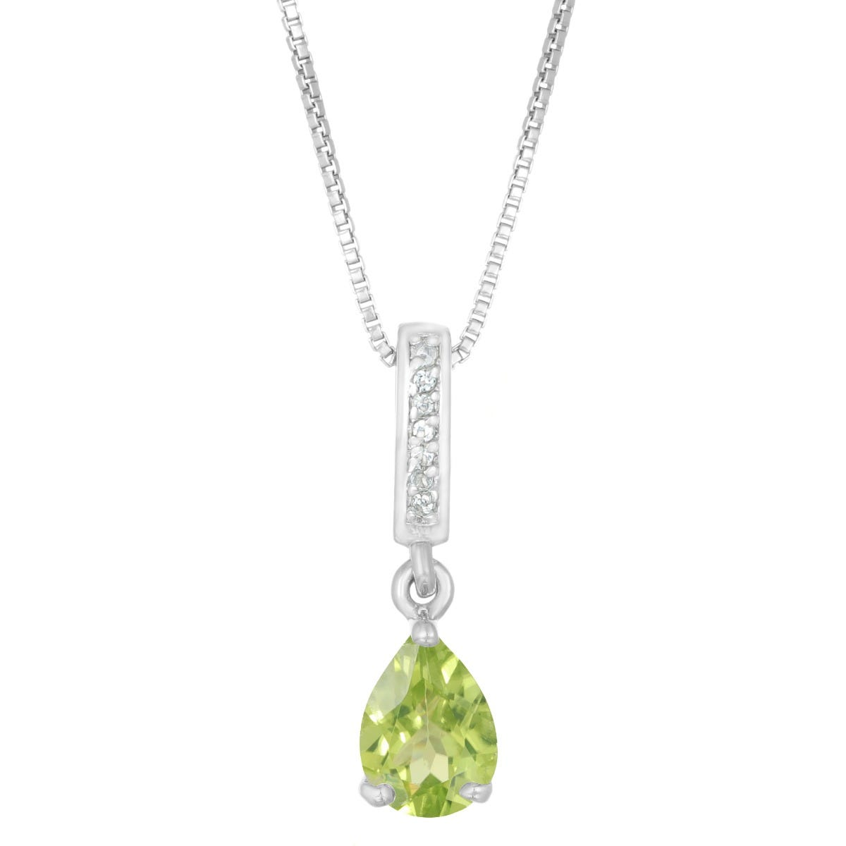 Pear Shaped Peridot & White Topaz Pendant in Sterling Silver