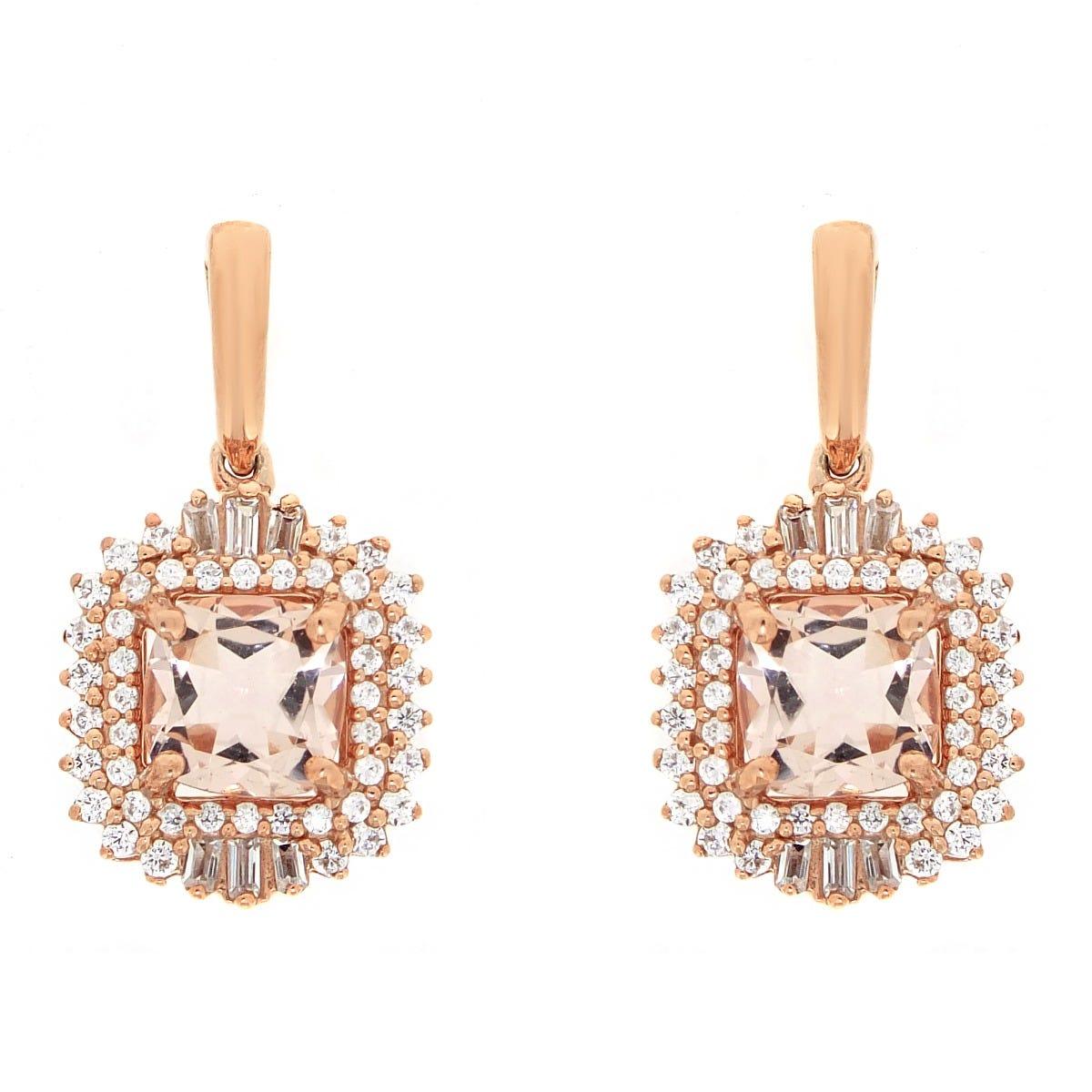 Cushion & Baguette-Cut Morganite & Diamond Halo Unique Drop Earrings in Rose Gold