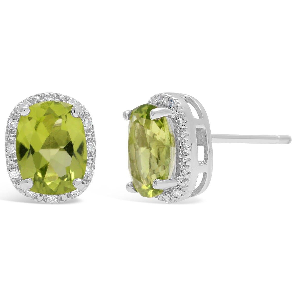 Peridot & Diamond Halo Stud Earrings in Sterling Silver