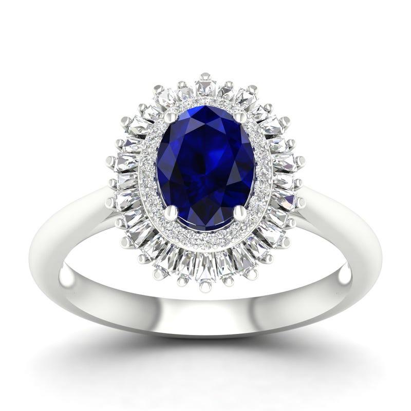 Oval Sapphire & Diamond Ballerina Ring in 10k White Gold