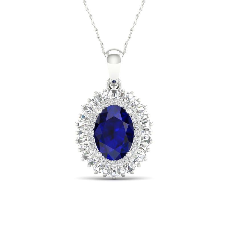 Oval Sapphire & Diamond Ballerina Pendant in 10k White Gold
