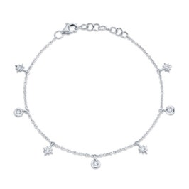 Shy Creation Star Diamond Dangle Bracelet in 14k White Gold SC55006793