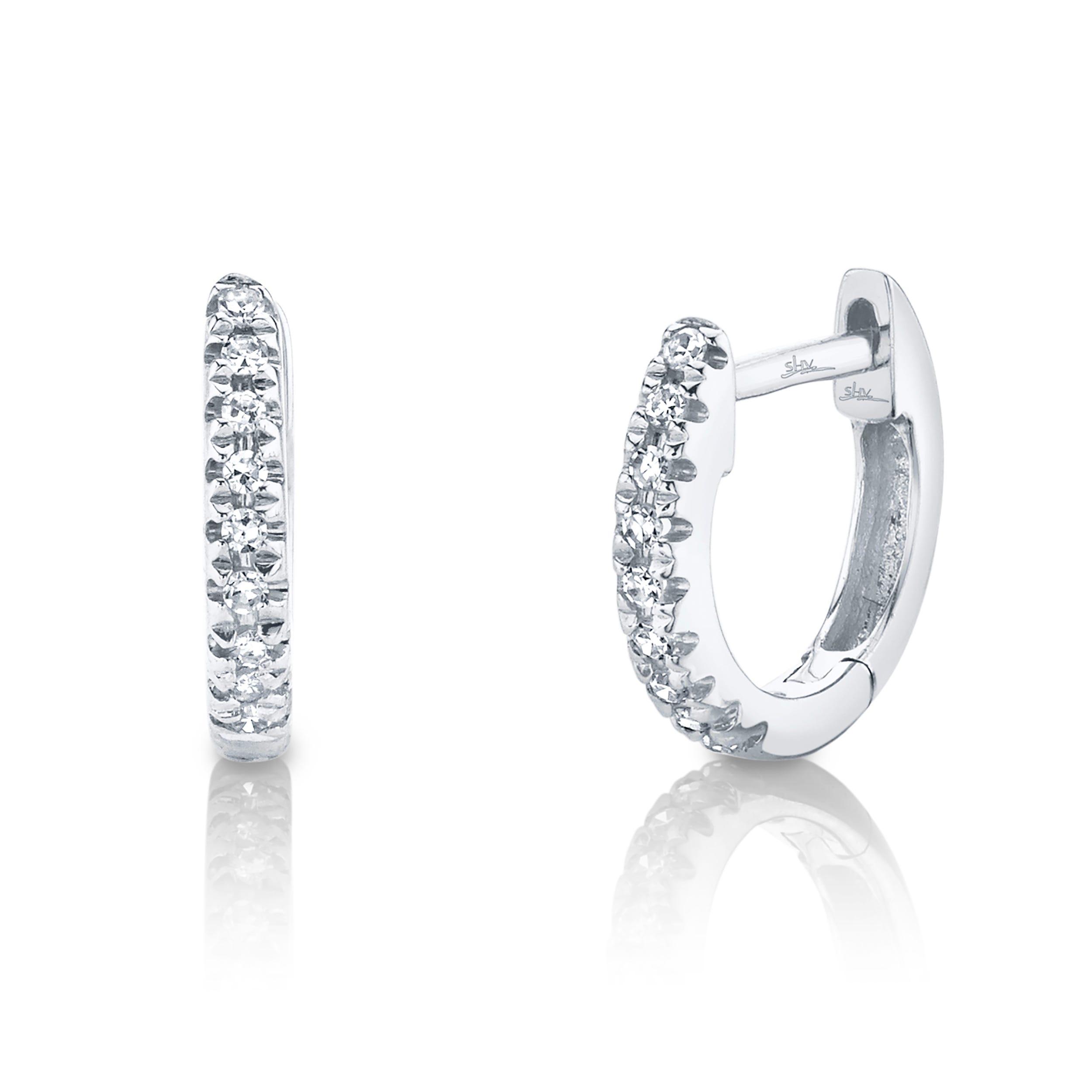 Shy Creation Diamond Huggie Earrings in 14k White Gold SC22003982V3