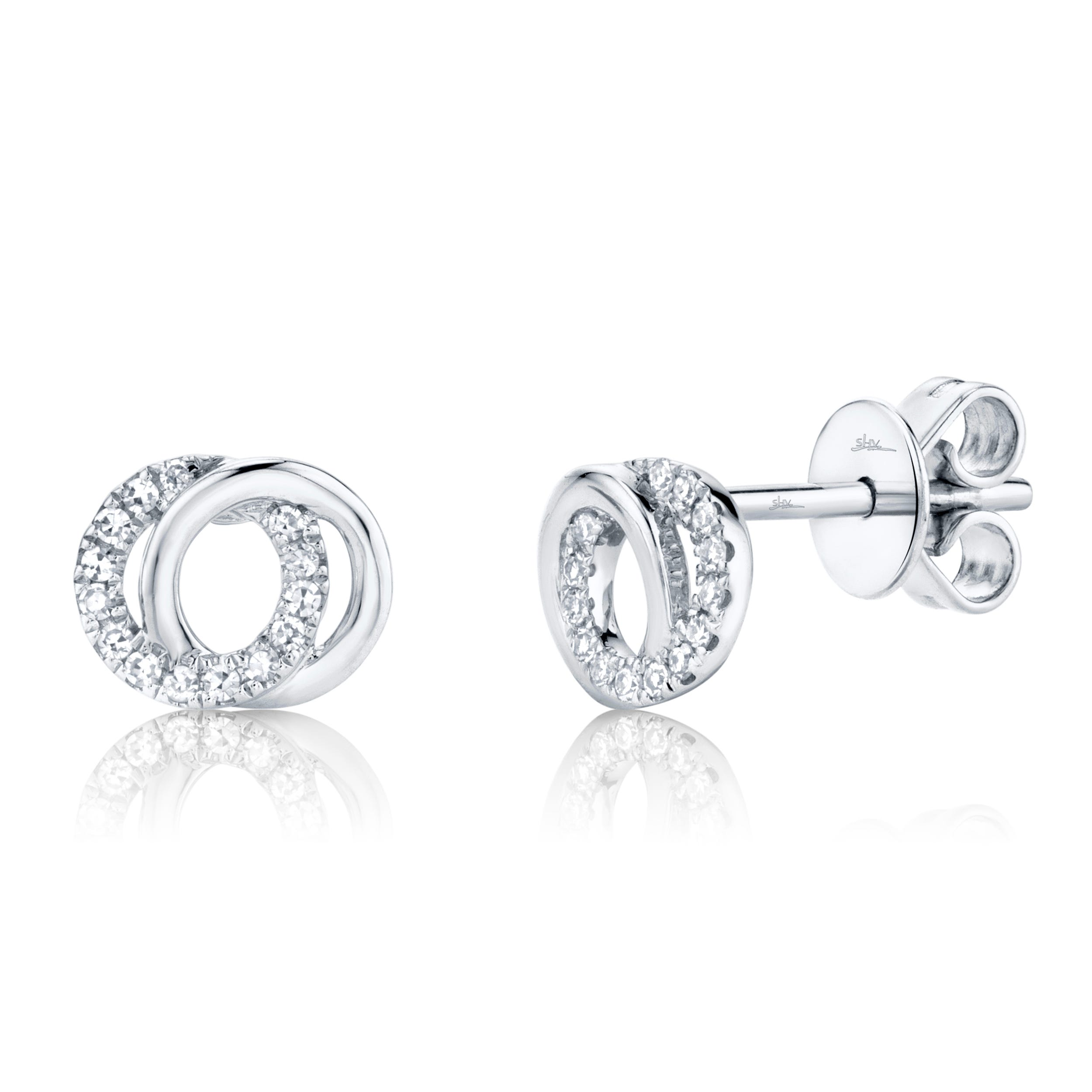 Shy Creation Diamond Love Knot Earrings in 14k White Gold SC55009821