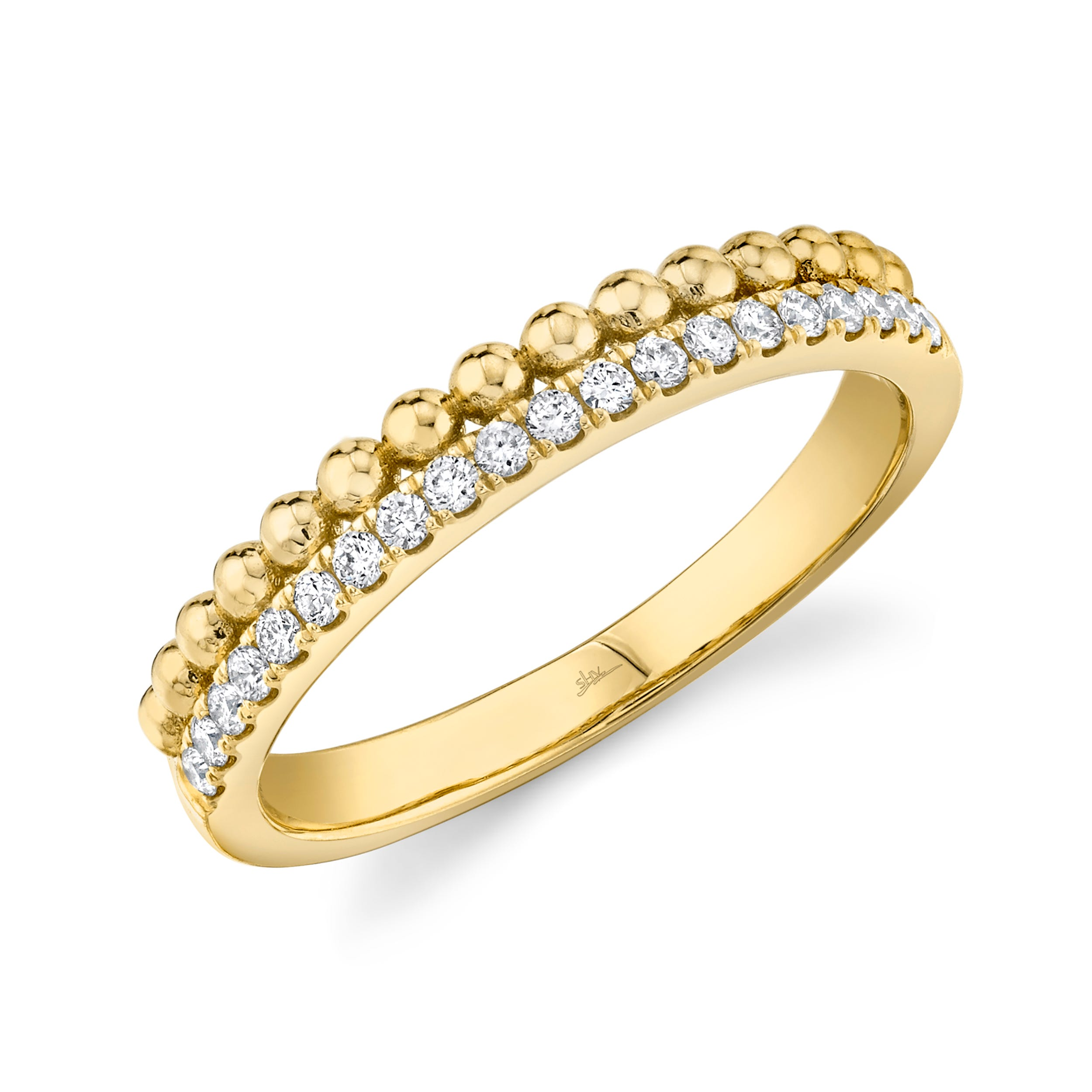 Shy Creation Diamond Stackable Bead Ring in 14k Yellow Gold SC22005647