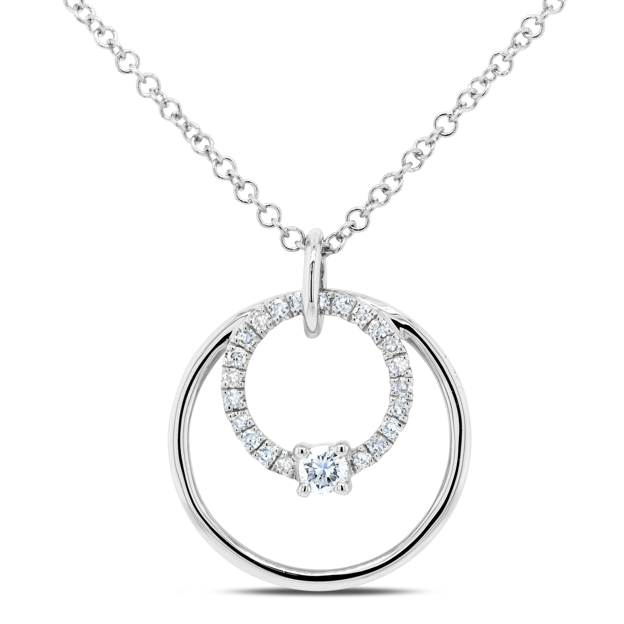 Shy Creation Diamond Circle Necklace in 14k White Gold SC55009039