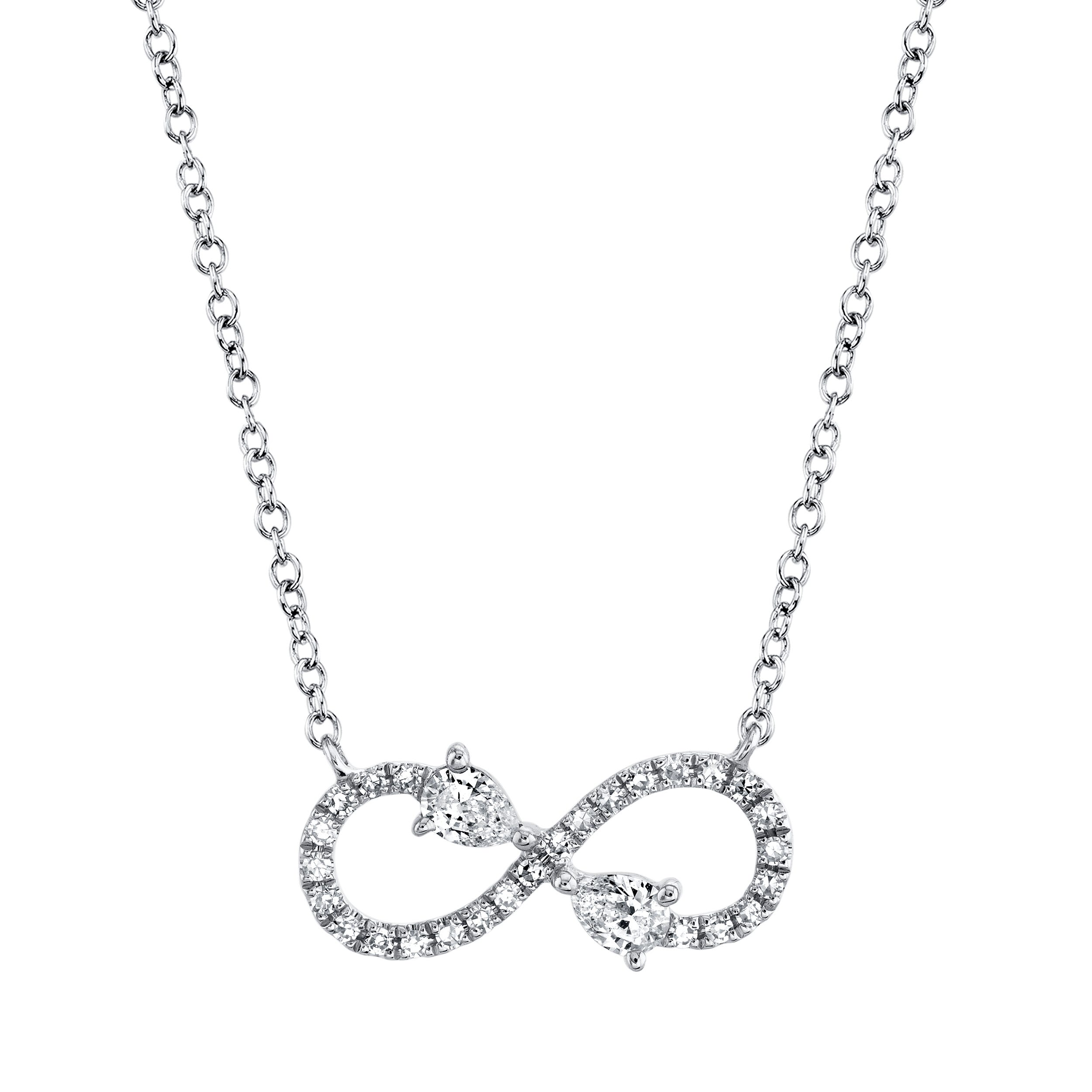 Shy Creation Diamond Infinity Necklace in 14k White Gold SC55019575