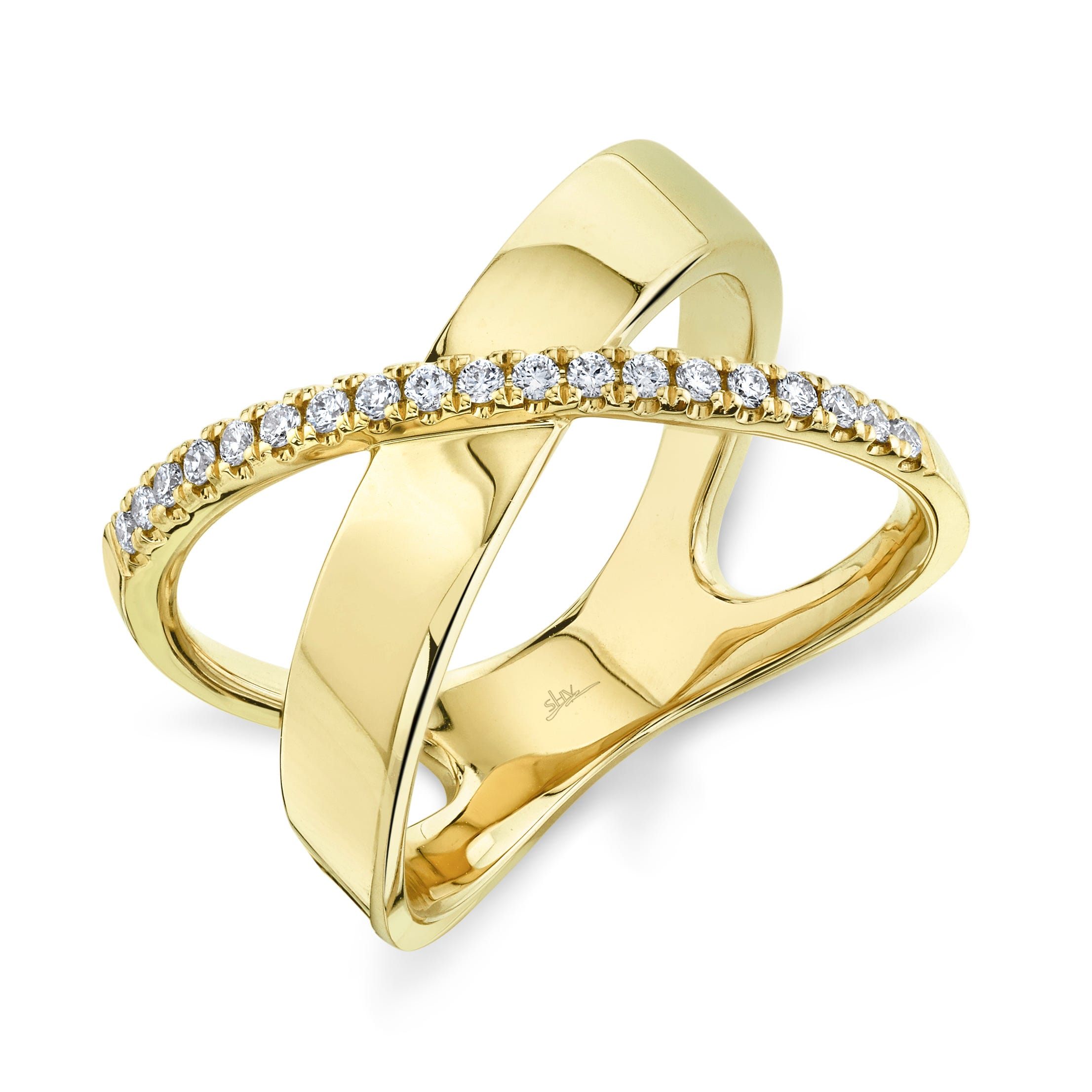Shy Creation Diamond X Ring in 14k Yellow Gold SC55011770