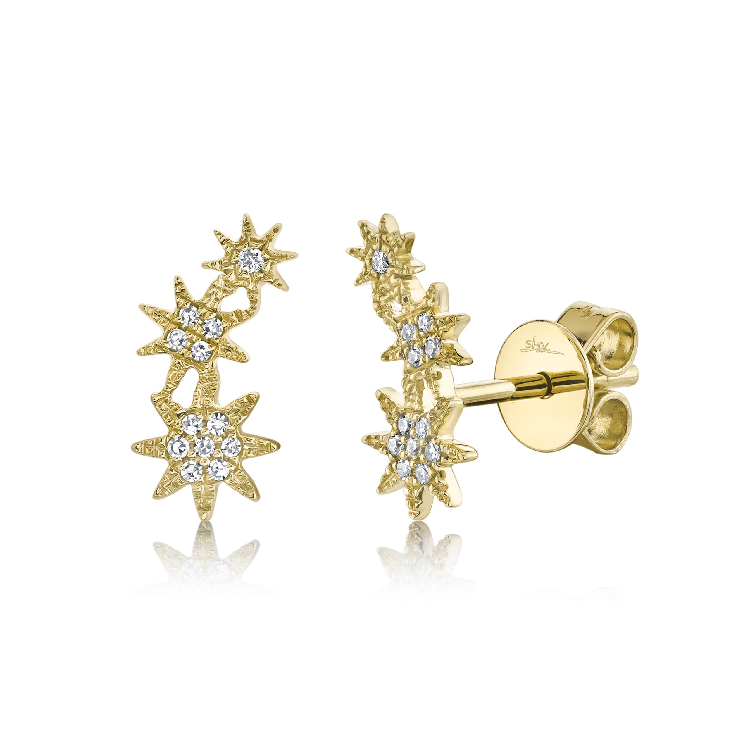 Shy Creation Diamond Star Climber Stud Earrings in 14k Yellow Gold SC55006158