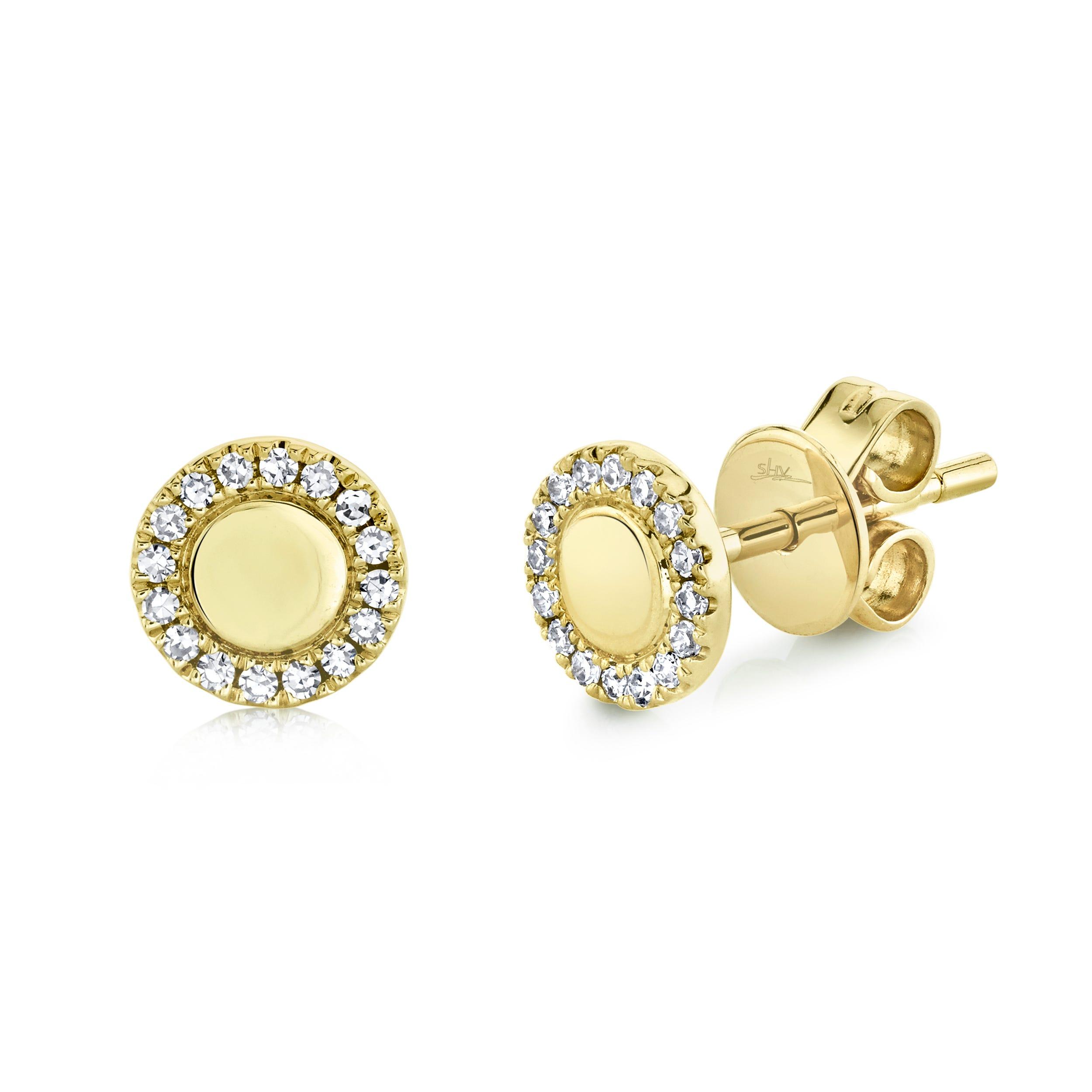 Shy Creation 0.10ctw. Diamond Circle Stud Earrings in 14k Yellow Gold SC55019457