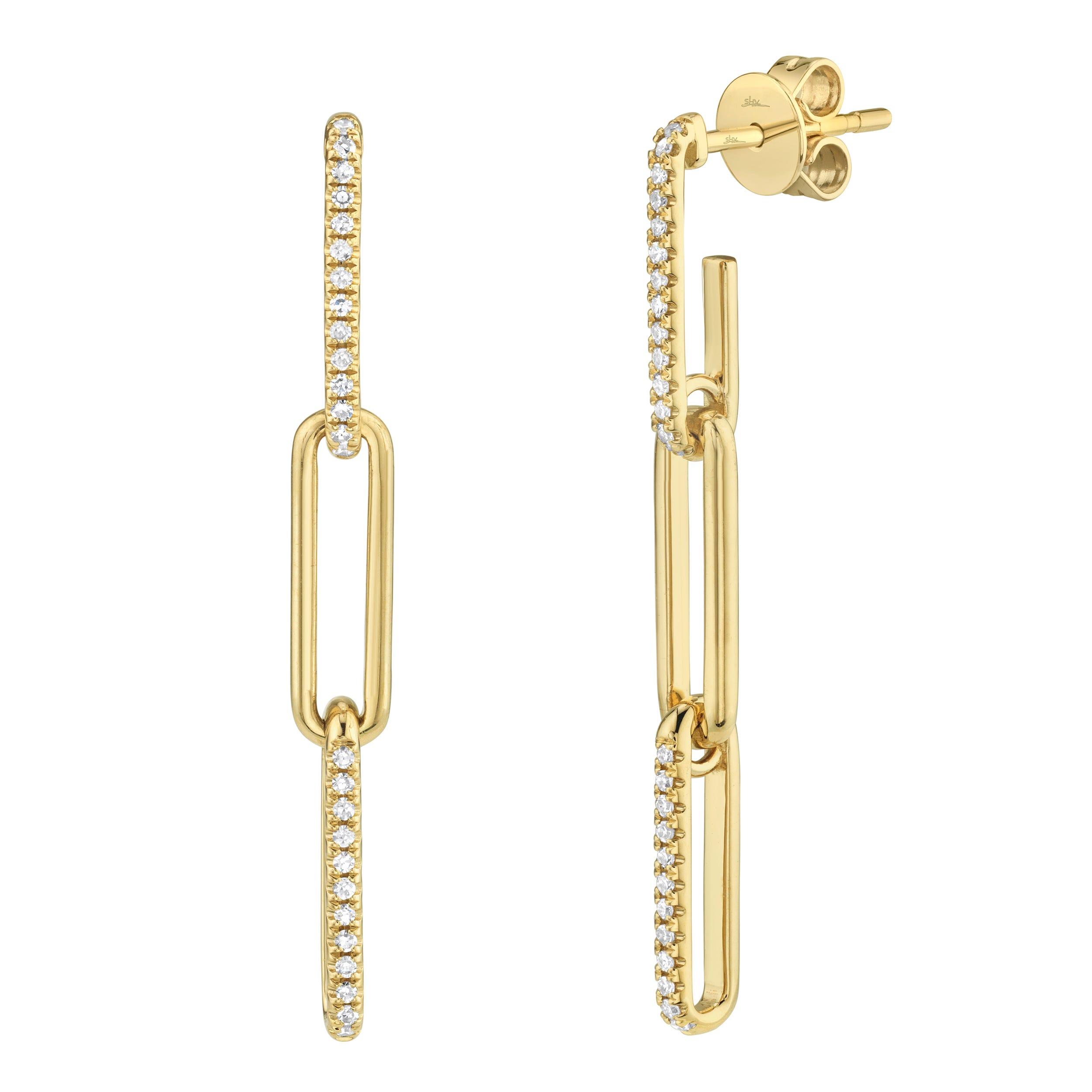 Shy Creation 0.17ctw. Diamond Paperclip Dangle Earrings in 14k Yellow Gold SC55009644