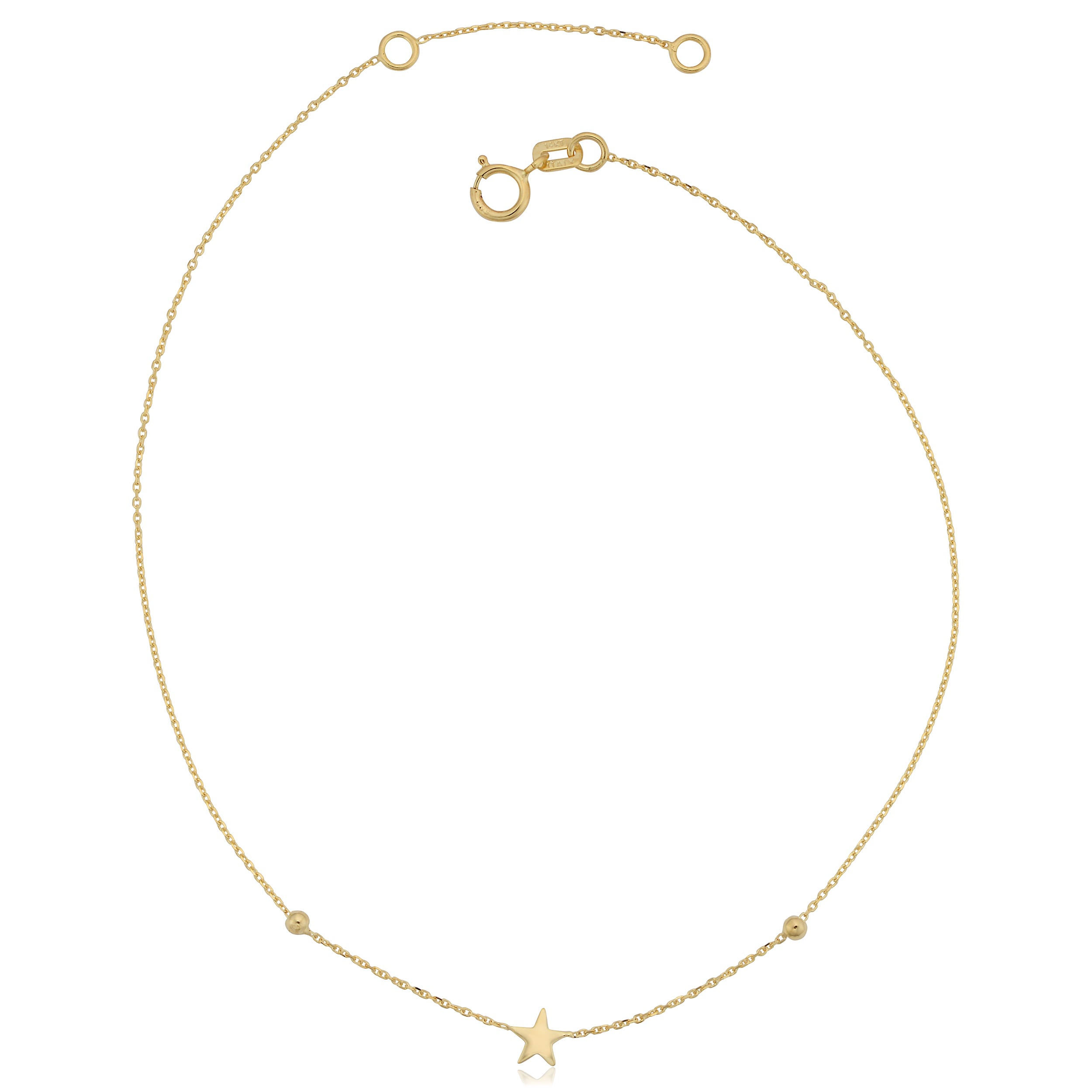 Star Anklet in 14k Yellow Gold