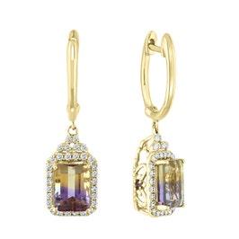 JK Crown Octagon Ametrine & Diamond Earrings in 14k Yellow Gold