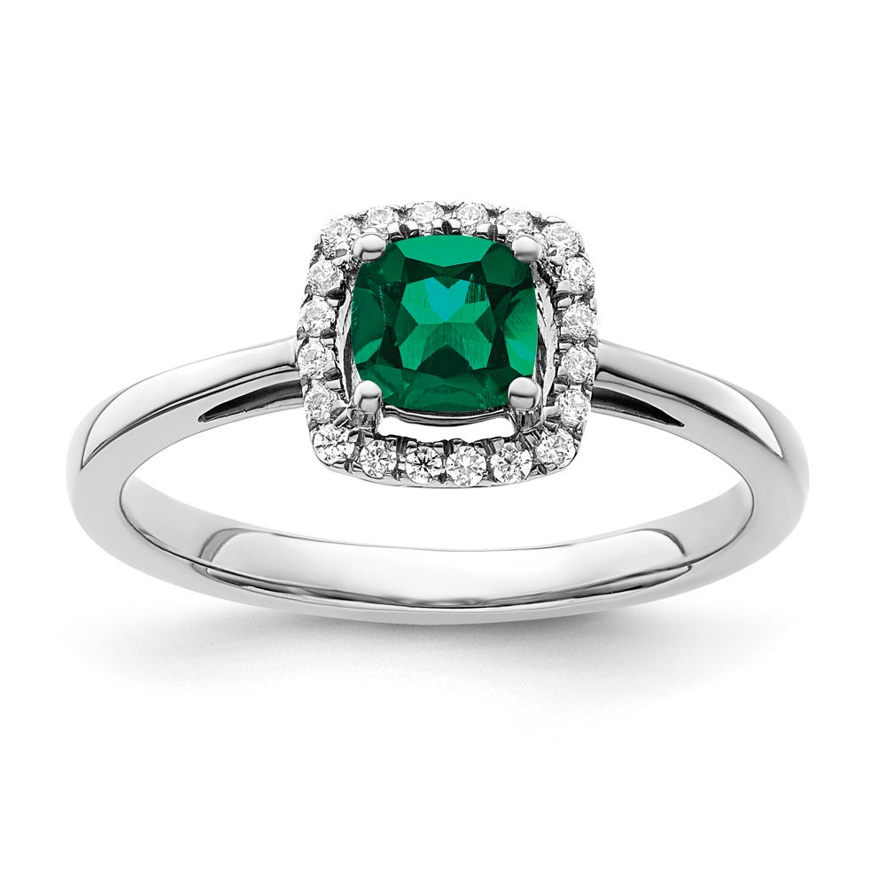 Cushion-Cut Created Emerald & Diamond Halo Ring in Sterling Silver