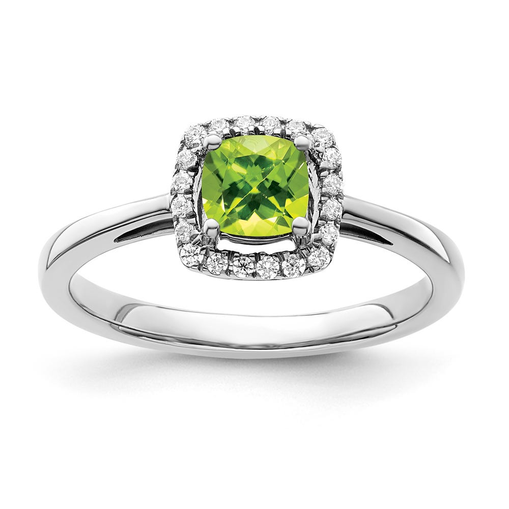 Cushion-Cut Peridot & Diamond Halo Ring in Sterling Silver