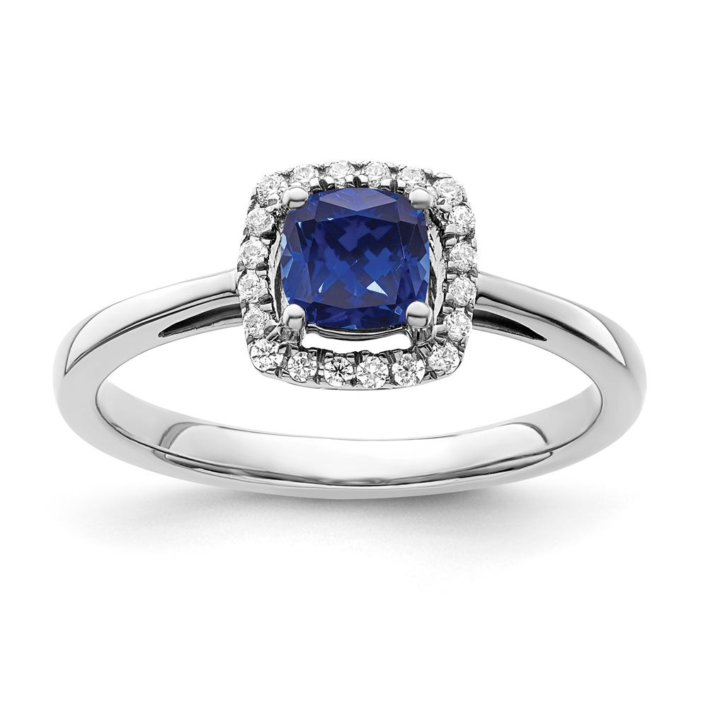 Cushion-Cut Created Blue Sapphire & Diamond Halo Ring in Sterling Silver