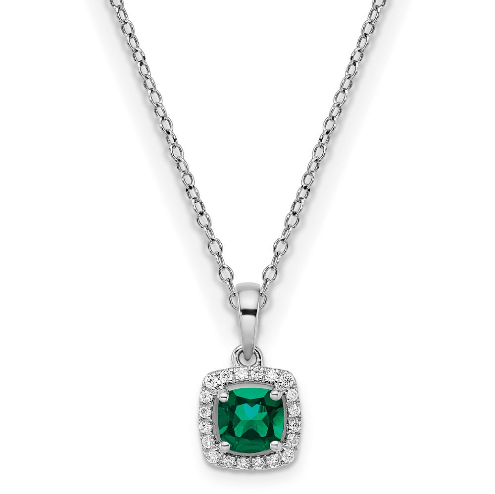 Cushion-Cut Created Emerald & Diamond Halo Pendant in Sterling Silver
