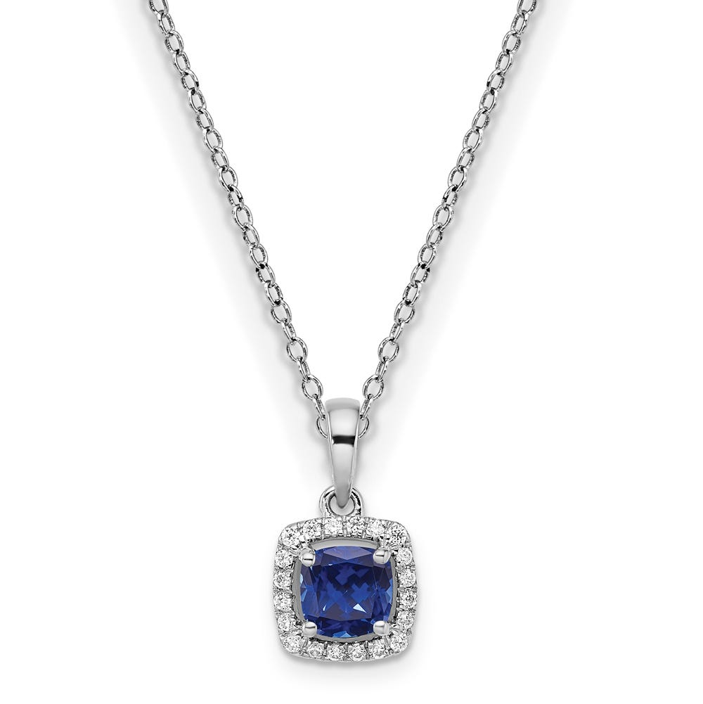 Cushion-Cut Created Blue Sapphire & Diamond Halo Pendant in Sterling Silver