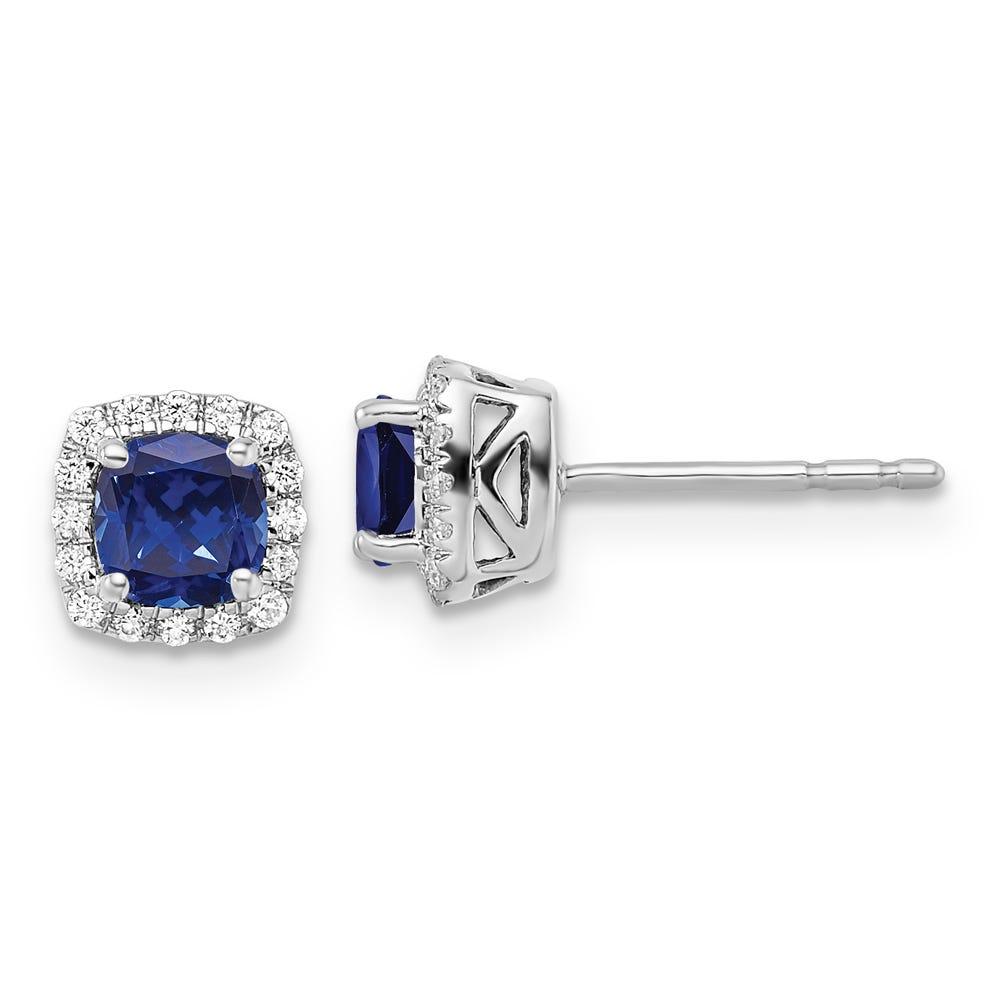 Cushion-Cut Created Blue Sapphire & Diamond Halo Stud Earrings in Sterling Silver