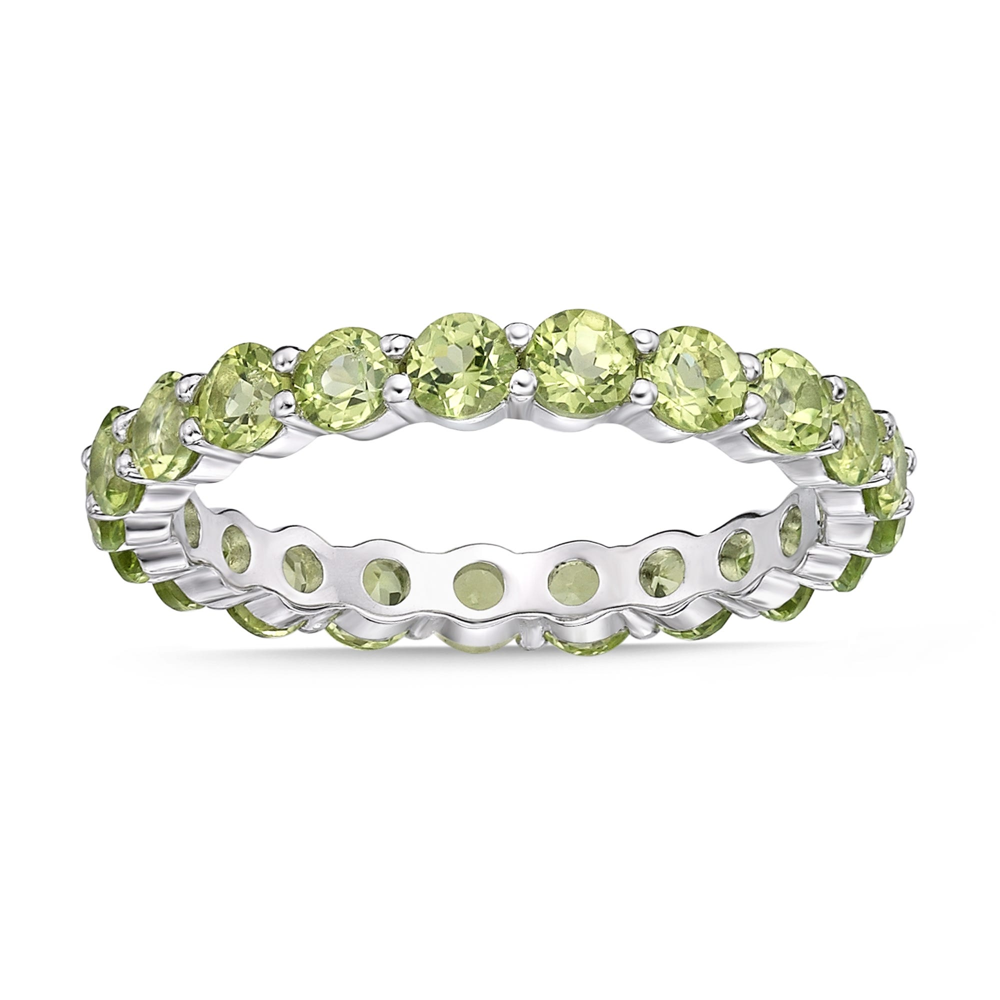 Peridot Eternity Band in Sterling Silver