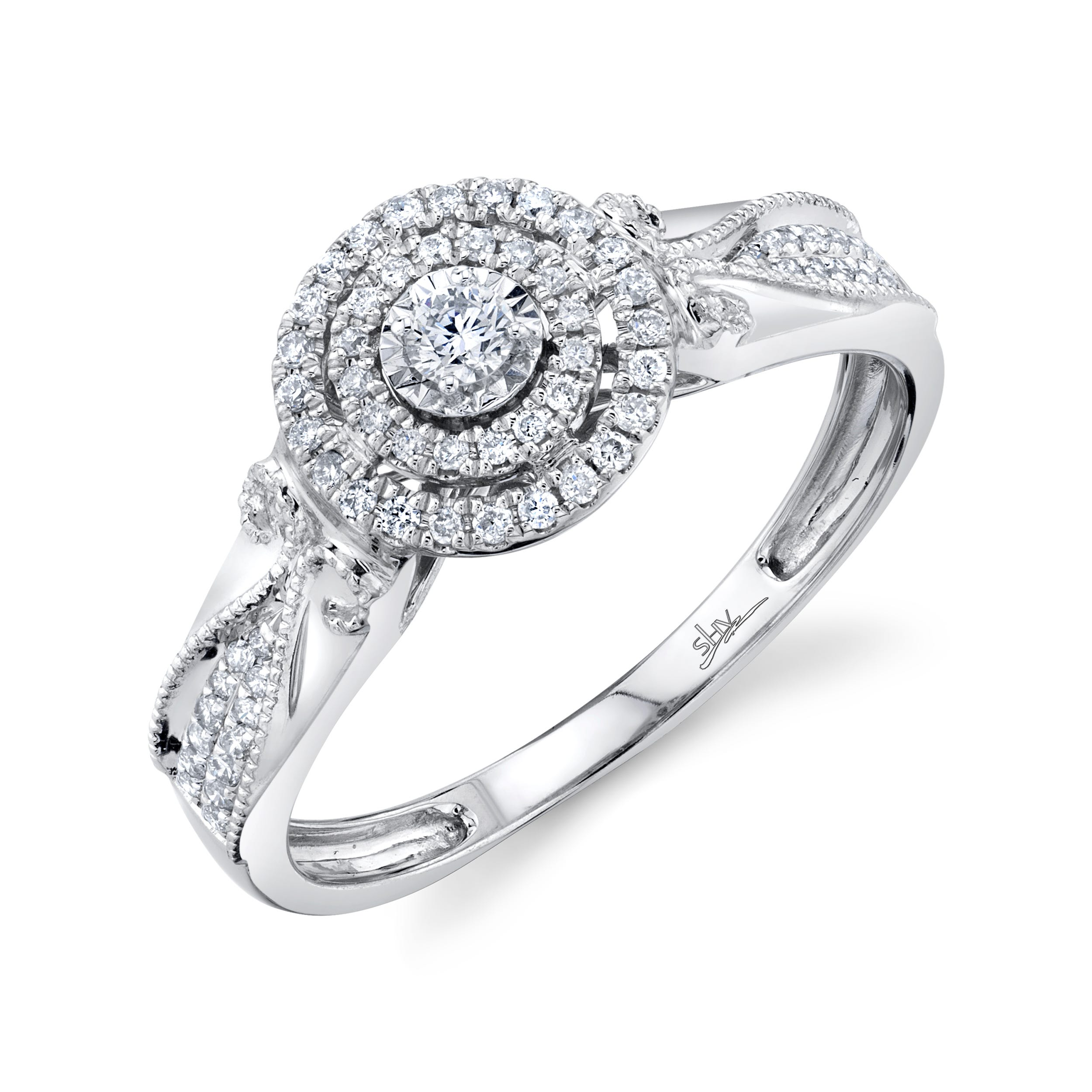 Shy Creation 1/4ctw. Diamond Double Halo Engagement Ring in 14k White Gold SC22007096