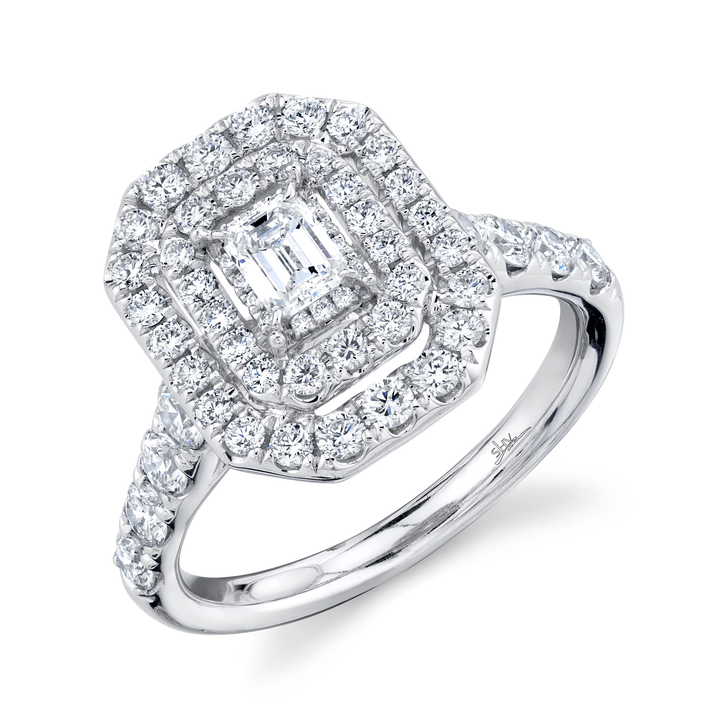 Shy Creation 1 1/2ctw. Emerald-Cut Diamond Double Halo Engagement Ring in 14k White Gold SC22007122
