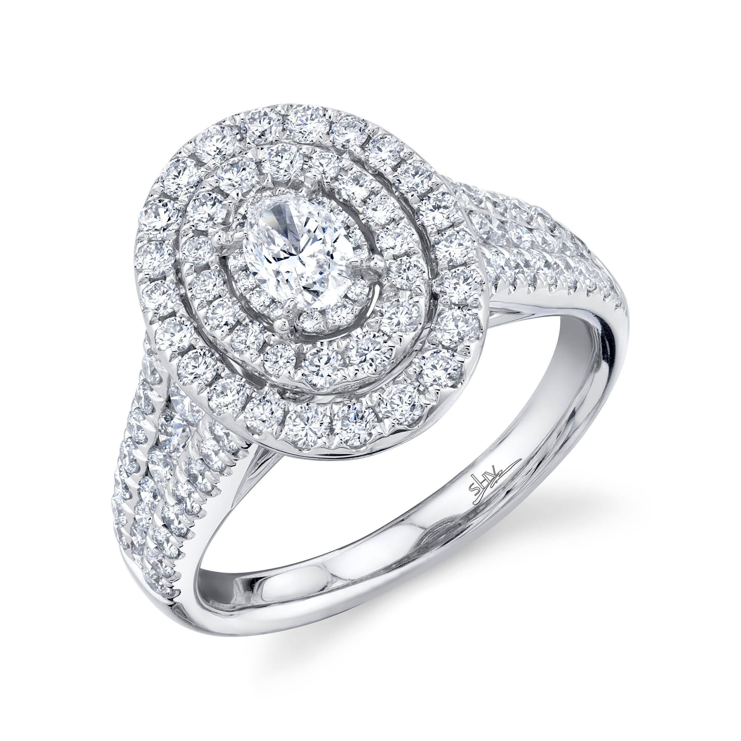 Shy Creation 1 1/2ctw. Oval Diamond Double Halo Engagement Ring in 14k White Gold SC22007161