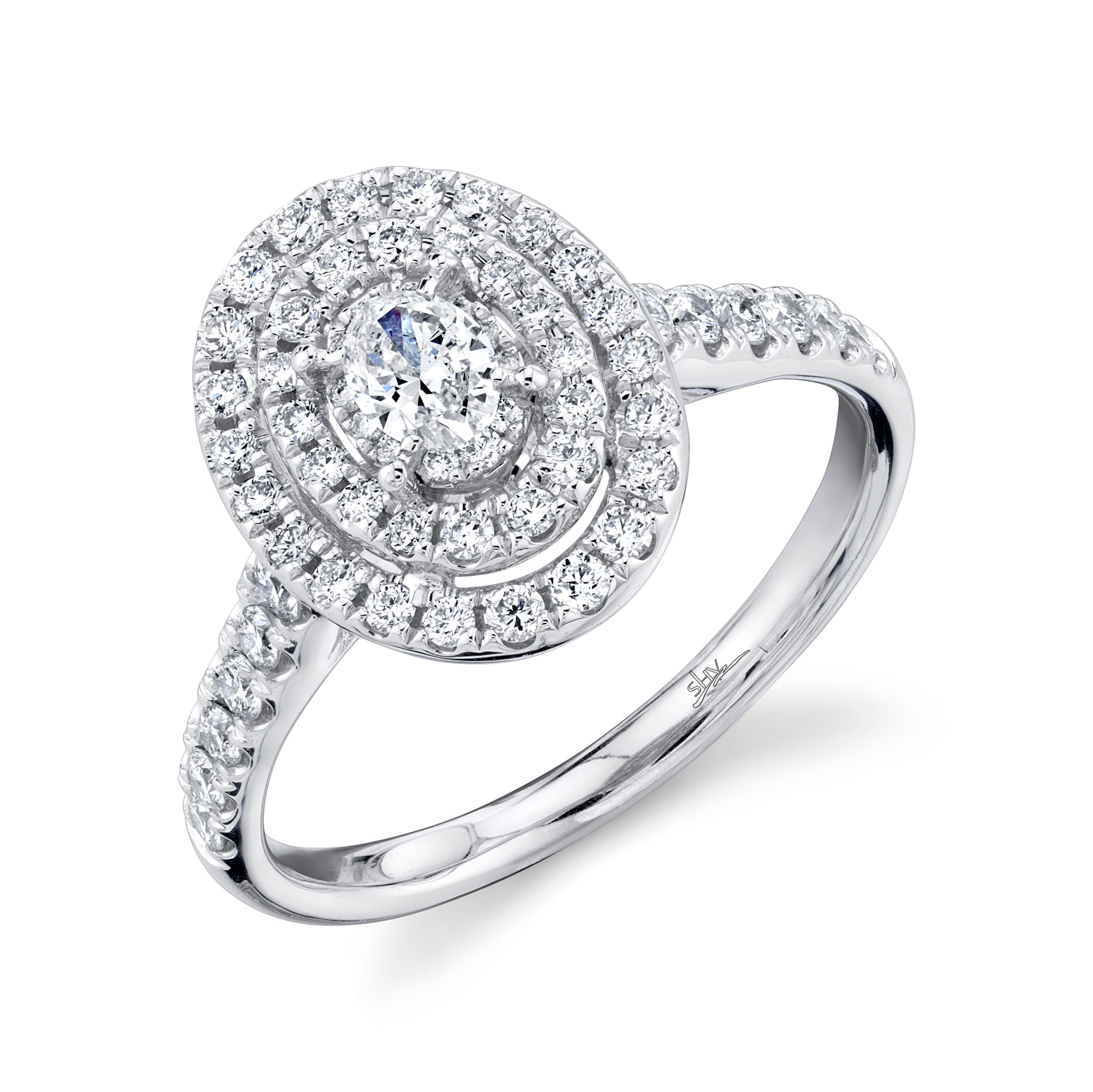 Shy Creation 3/4ctw. Oval Diamond Double Halo Engagement Ring in 14k White Gold SC22007185