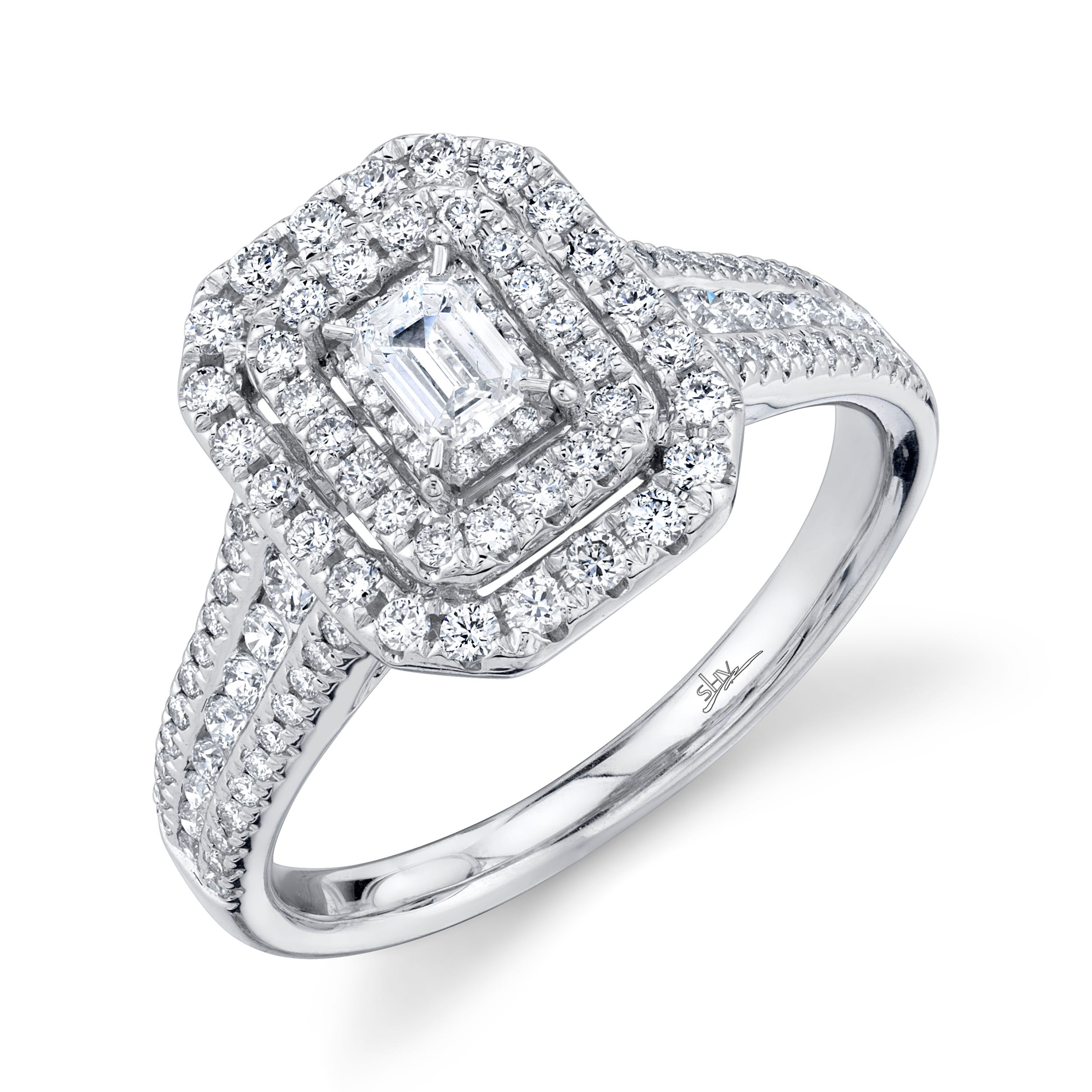 Shy Creation 3/4ctw. Emerald-Cut Diamond Double Halo Engagement Ring in 14k White Gold SC22007206