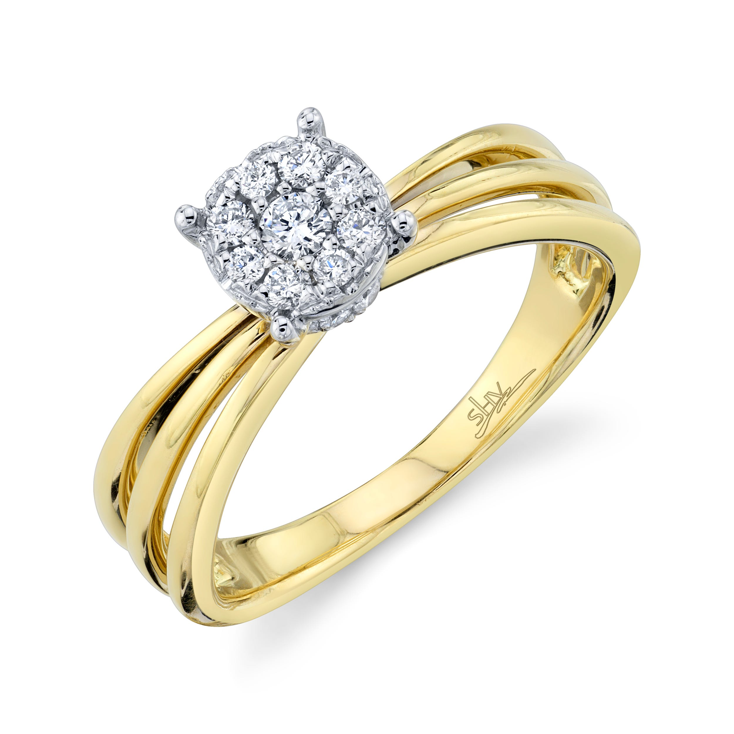Shy Creation 1/4ctw. Diamond Composite Engagement Ring in 14k White & Yellow Gold SC22007050