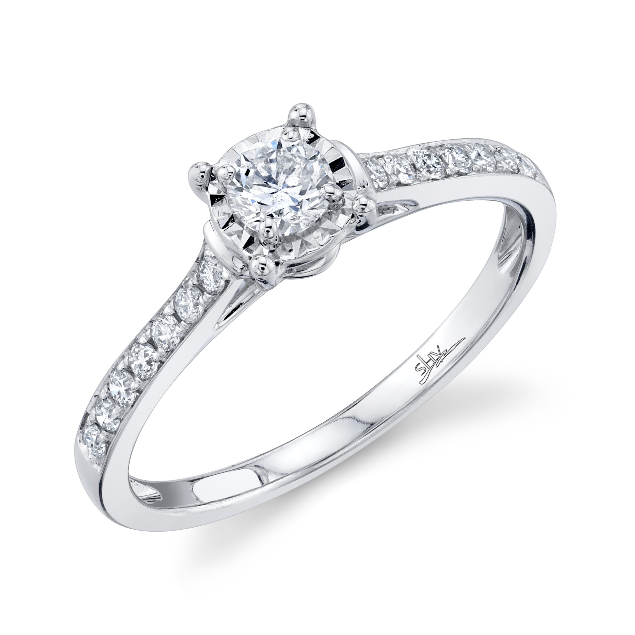 Shy Creation 3/8ctw. Diamond Classic Engagement Ring in 14k White Gold SC22007082