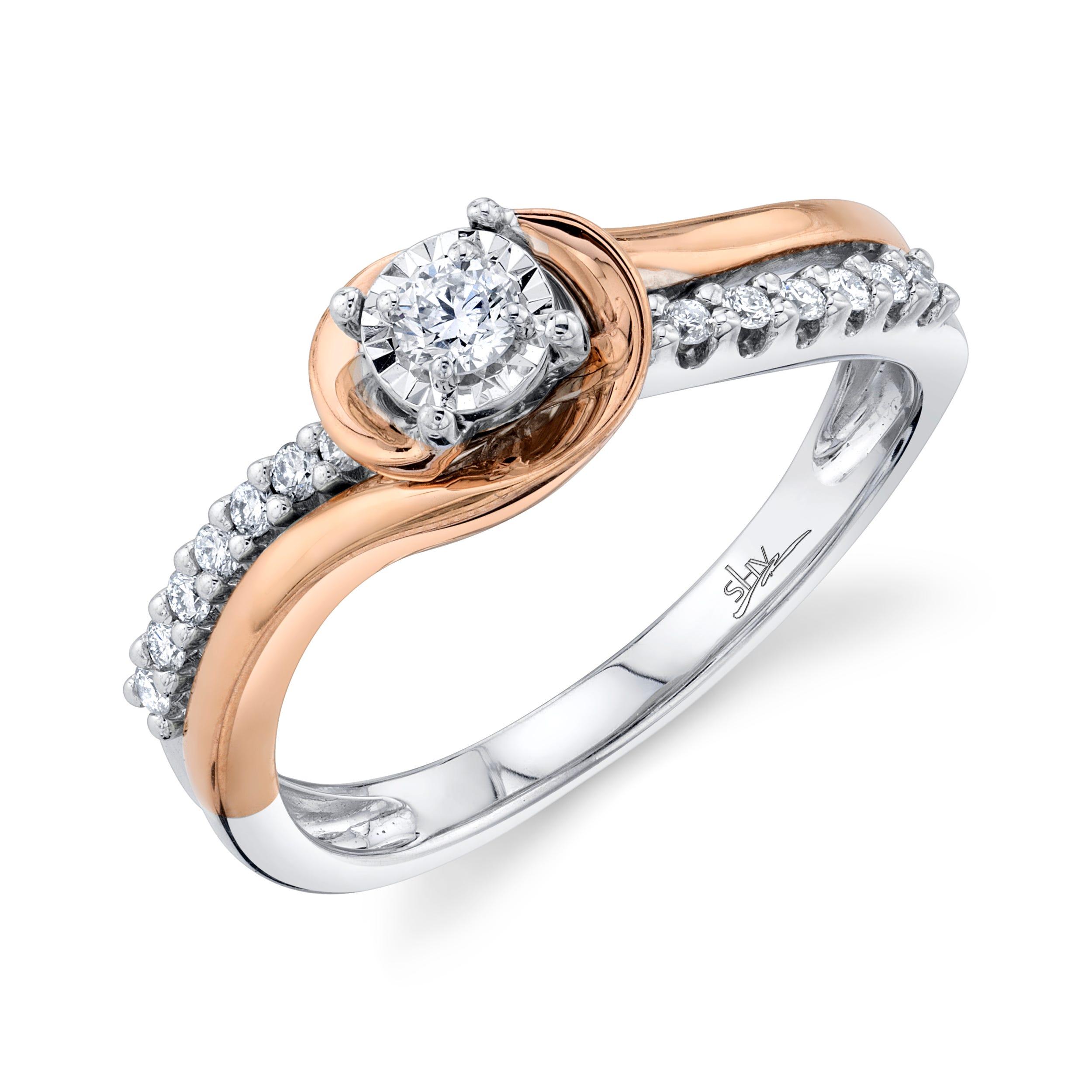 Shy Creation 1/4ctw. Diamond Swirl Engagement Ring in 14k White & Rose Gold SC22007095