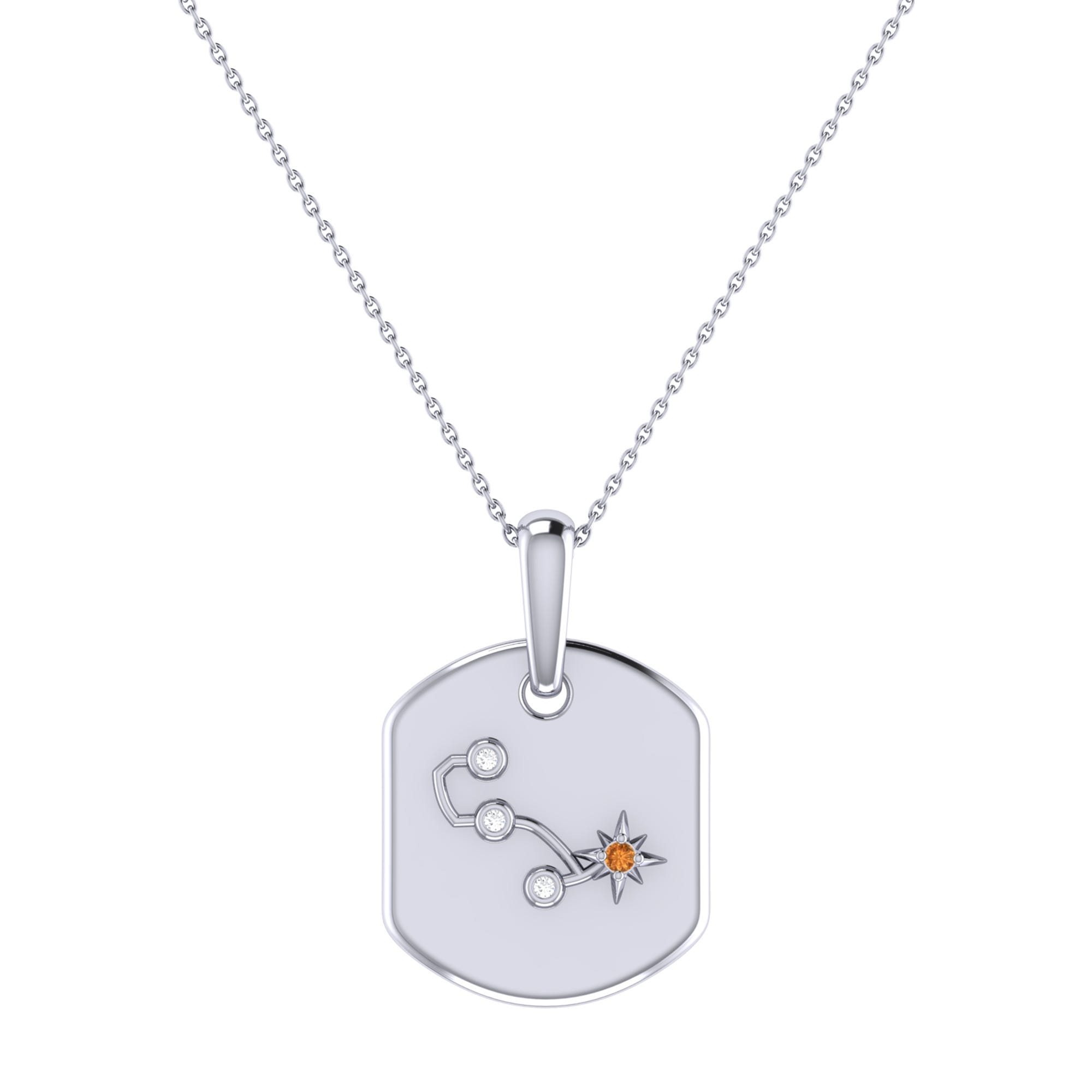 Diamond and Citrine Scorpio Constellation Tag Necklace in Sterling Silver