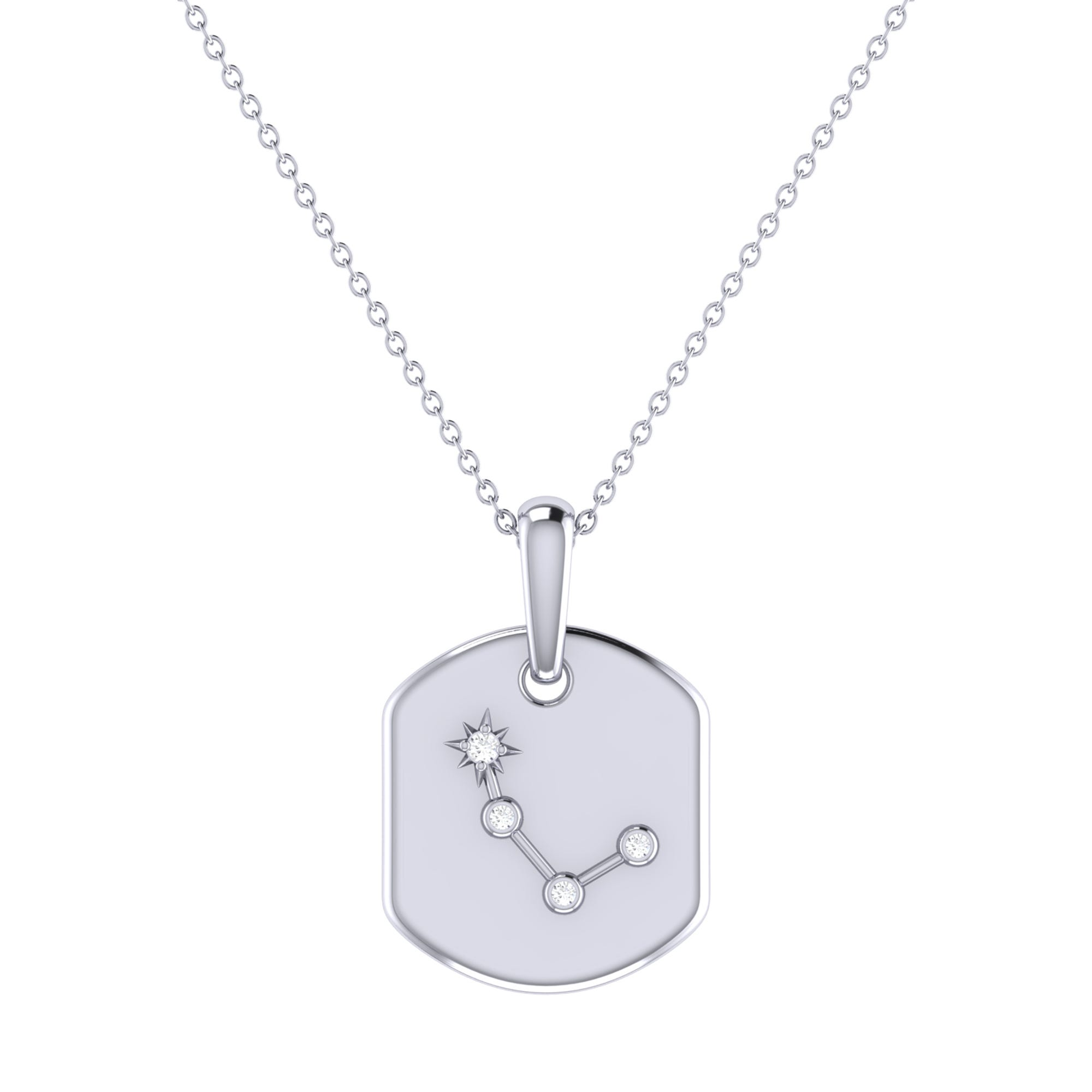 Diamond Aries Constellation Tag Necklace in Sterling Silver