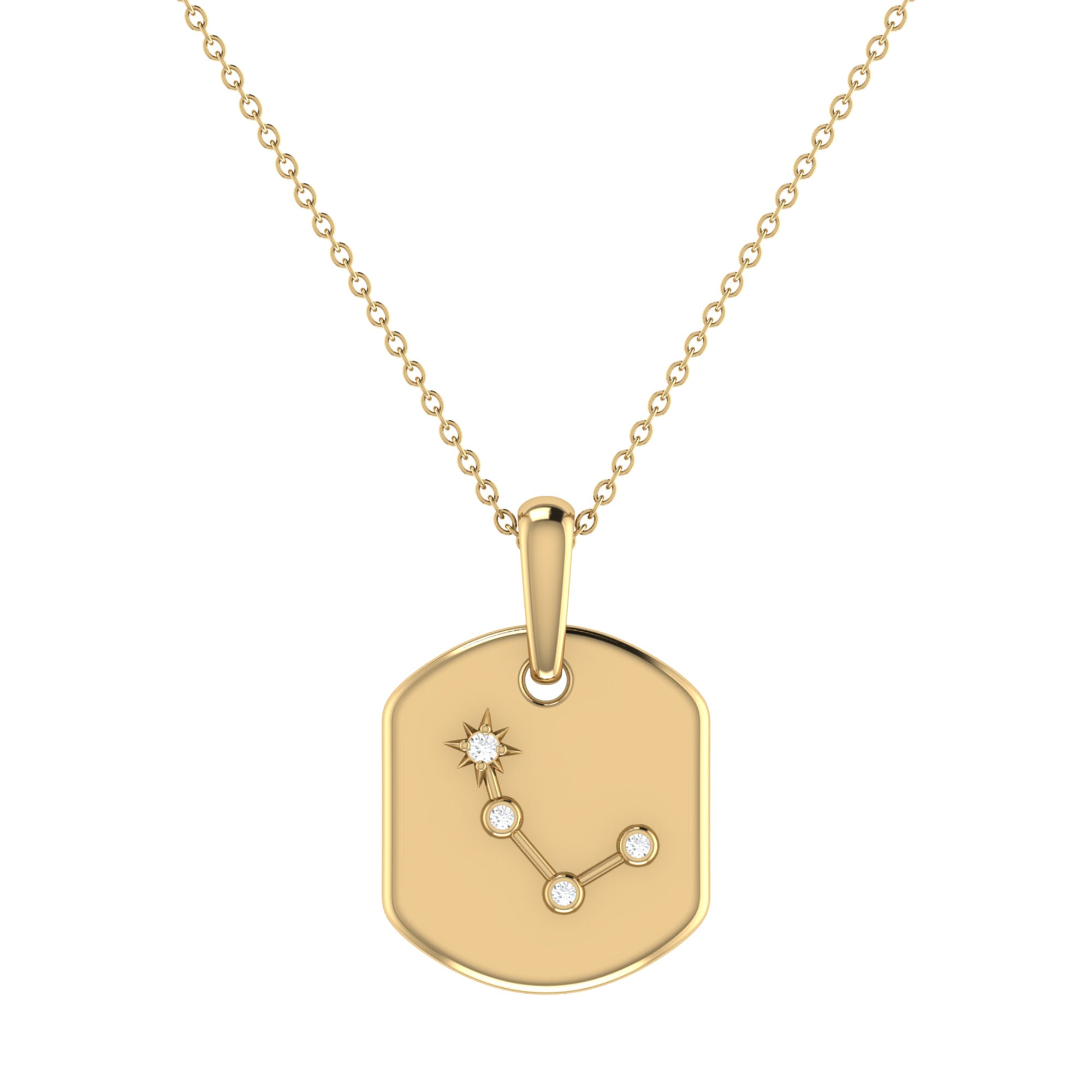 Diamond Aries Constellation Tag Necklace in 14k Yellow Gold Plated Sterling Silver