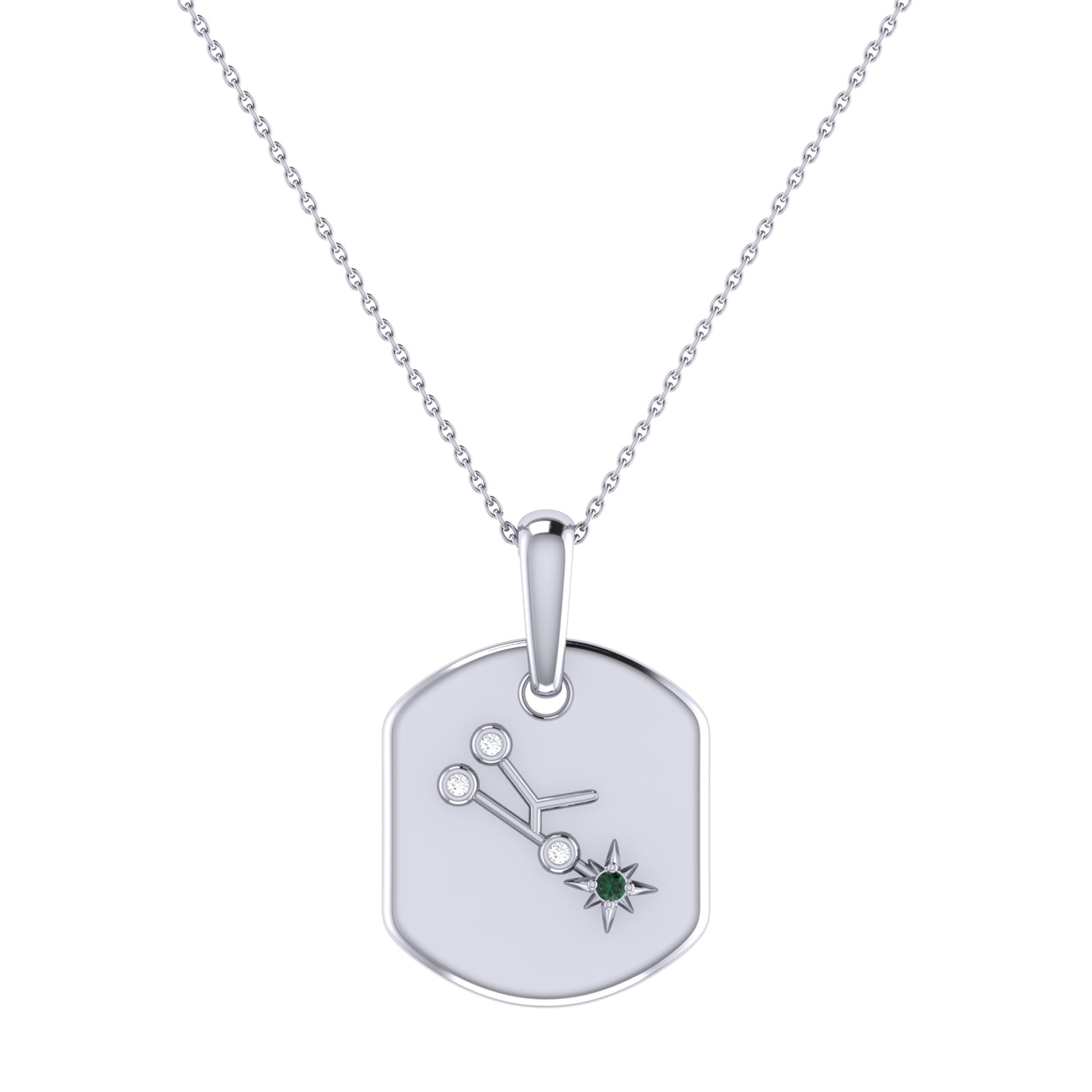 Diamond and Emerald Taurus Constellation Tag Necklace in Sterling Silver