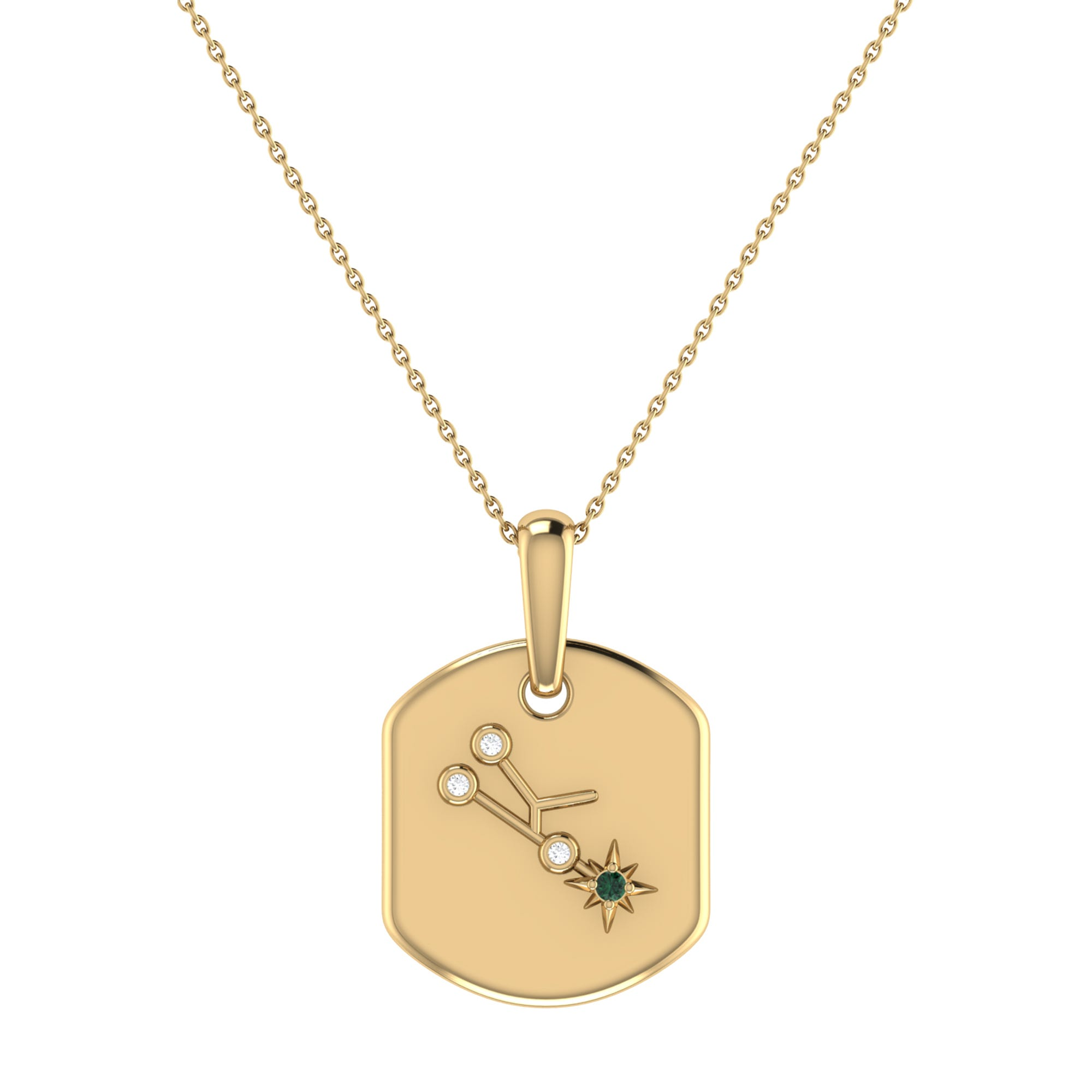 Diamond and Emerald Taurus Constellation Tag Necklace in 14k Yellow Gold Plated Sterling Silver