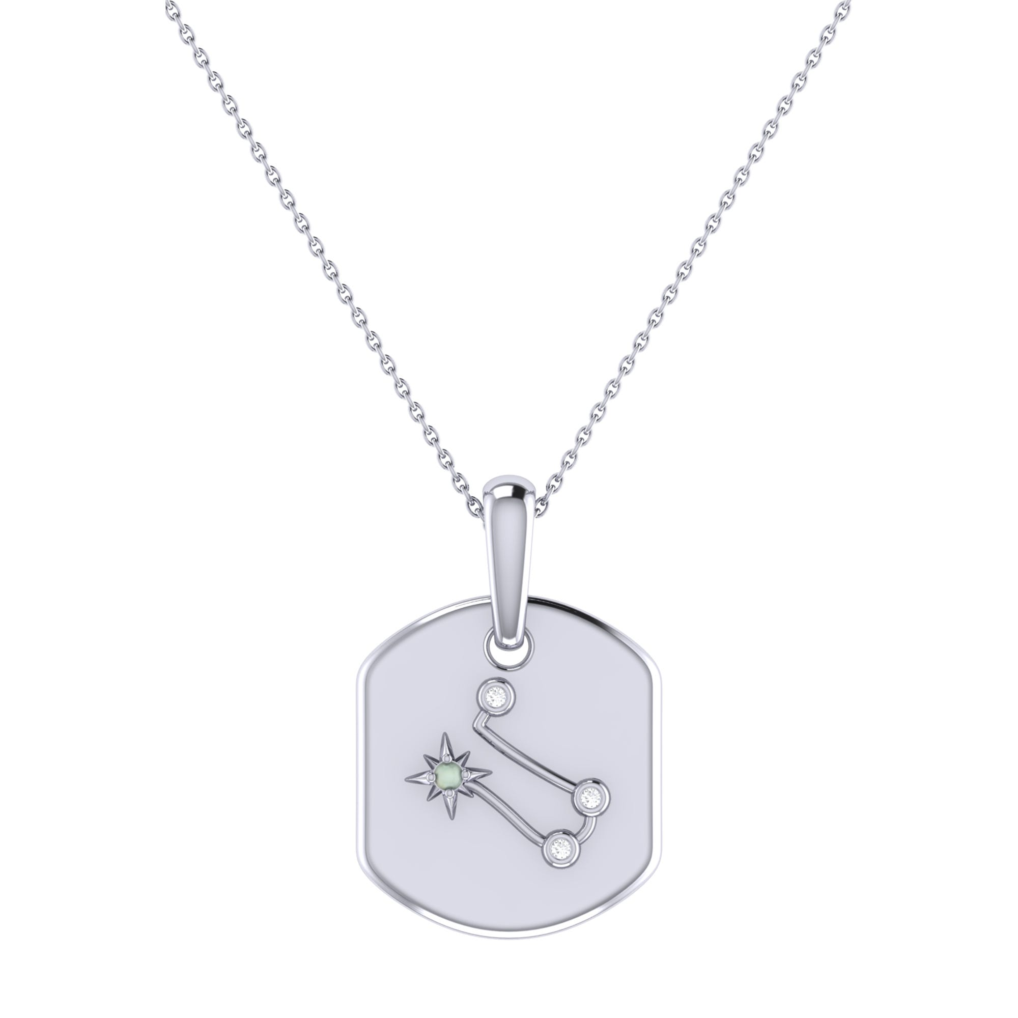 Diamond and Moonstone Gemini Constellation Tag Necklace in Sterling Silver