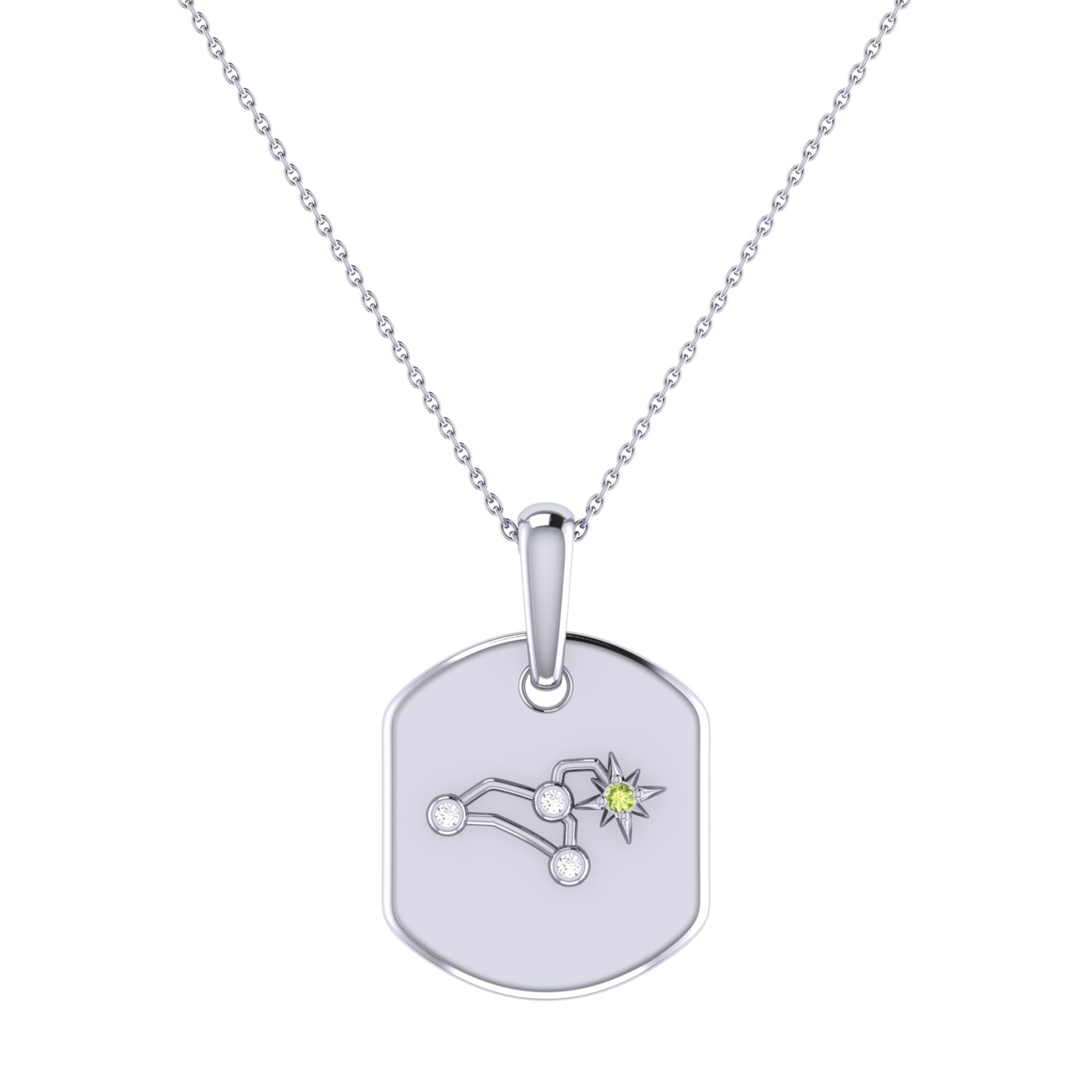 Diamond and Peridot Leo Constellation Tag Necklace in Sterling Silver