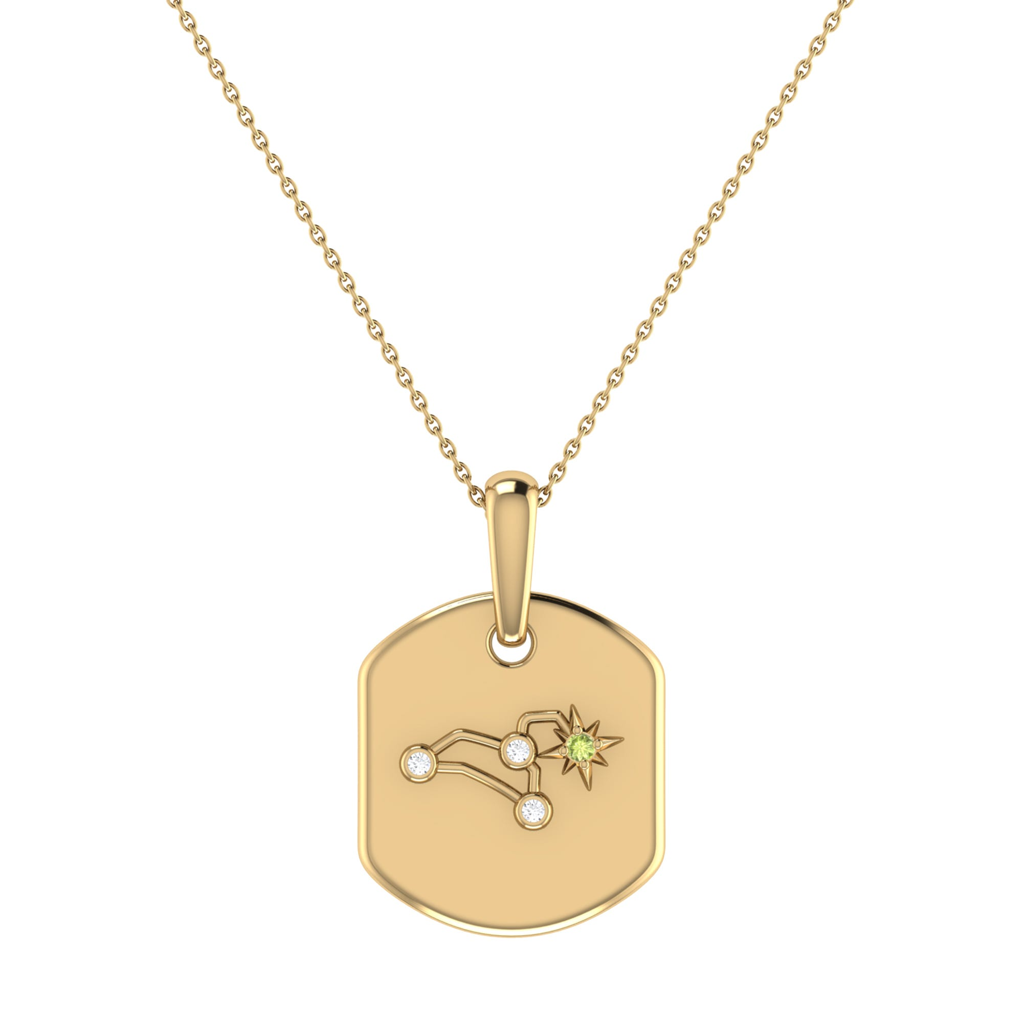 Diamond and Peridot Leo Constellation Tag Necklace in 14k Yellow Gold Plated Sterling Silver