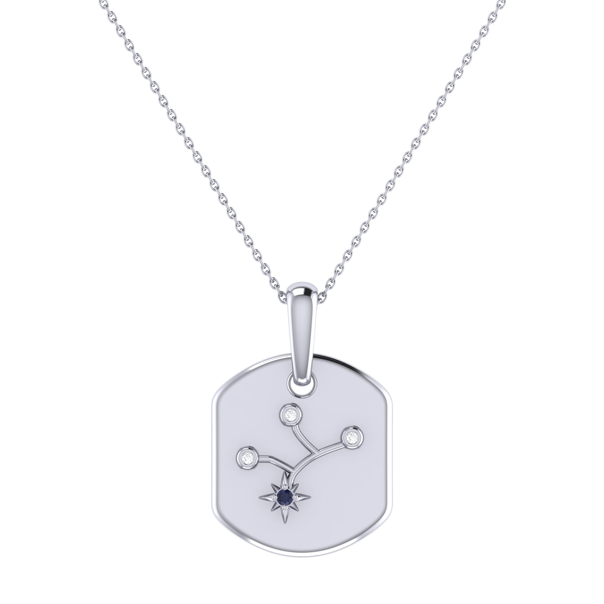 Diamond and Blue Sapphire Virgo Constellation Tag Necklace in Sterling Silver