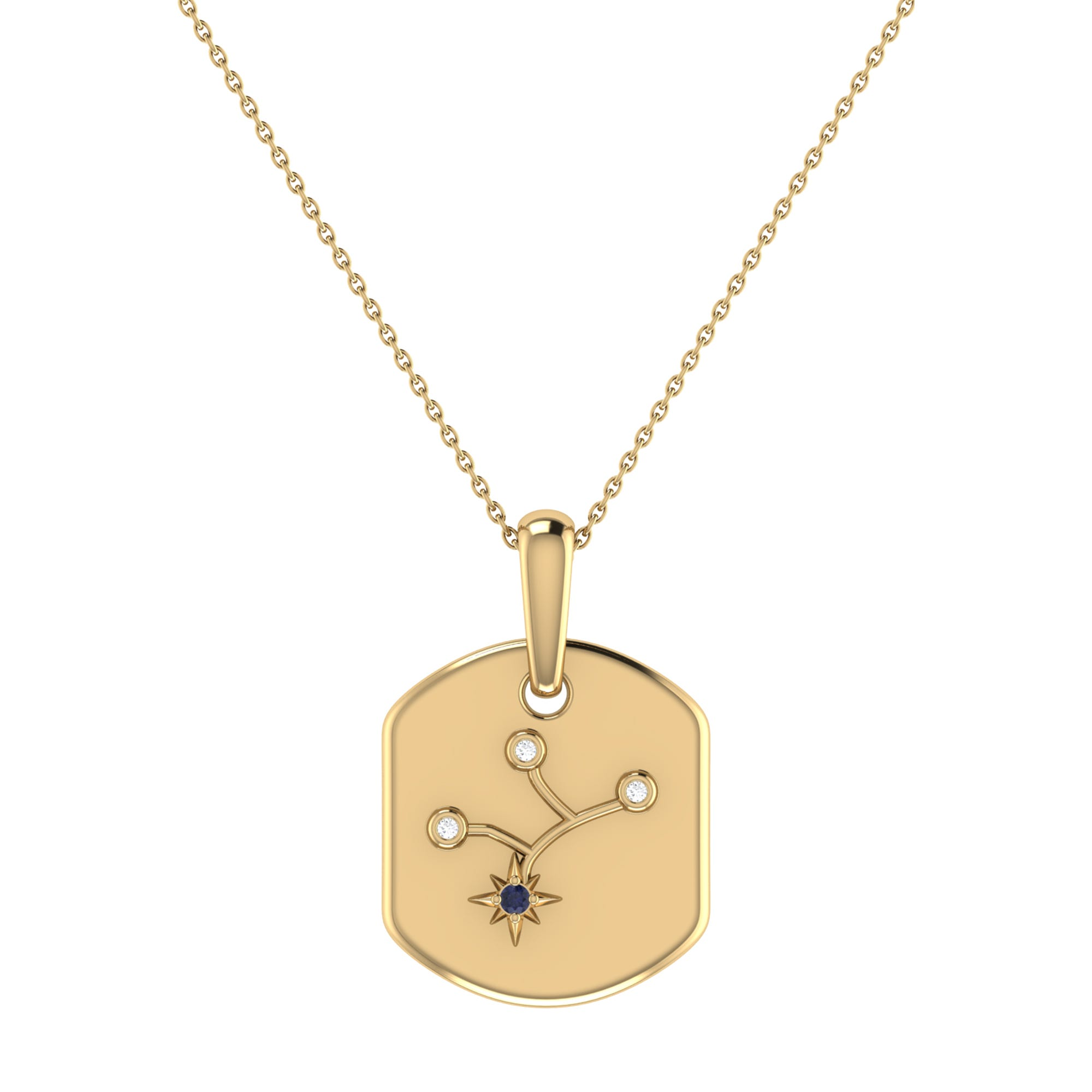 Diamond and Blue Sapphire Virgo Constellation Tag Necklace in 14k Yellow Gold Plated Sterling Silver