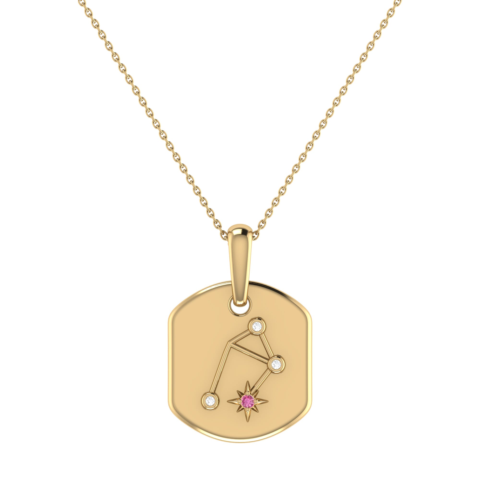Diamond and Pink Tourmaline Libra ConstellationTag Necklace in 14k Yellow Gold Plated Sterling Silver