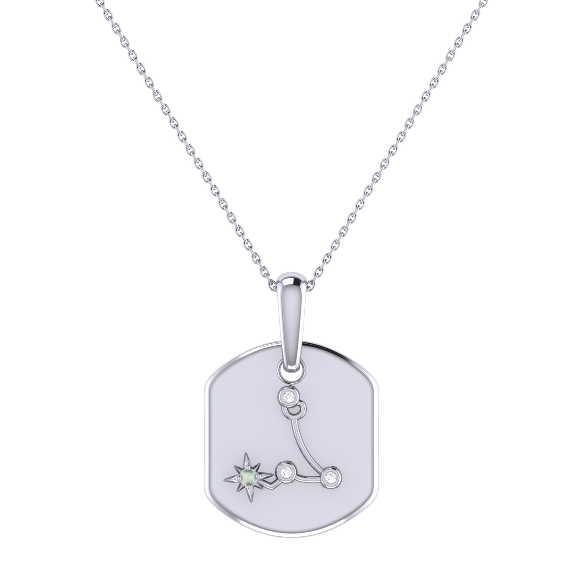 Diamond and Aquamarine Pisces Constellation Tag Necklace in Sterling Silver