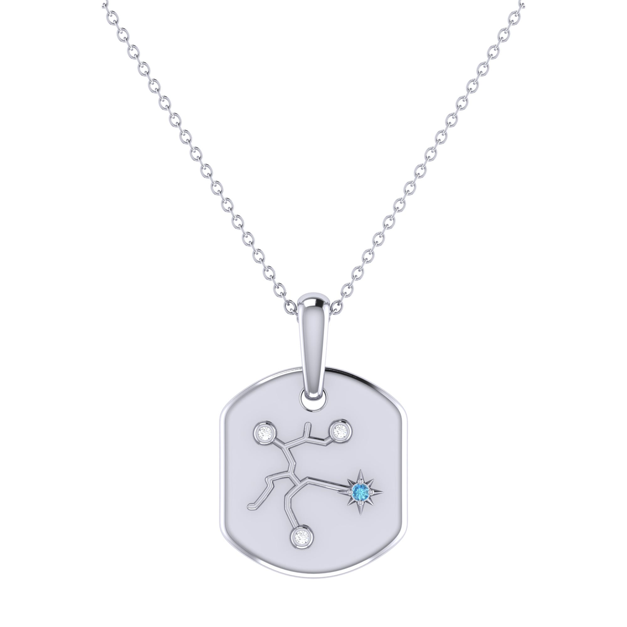 Diamond and Blue Topaz Sagittarius Constellation Tag Necklace in Sterling Silver