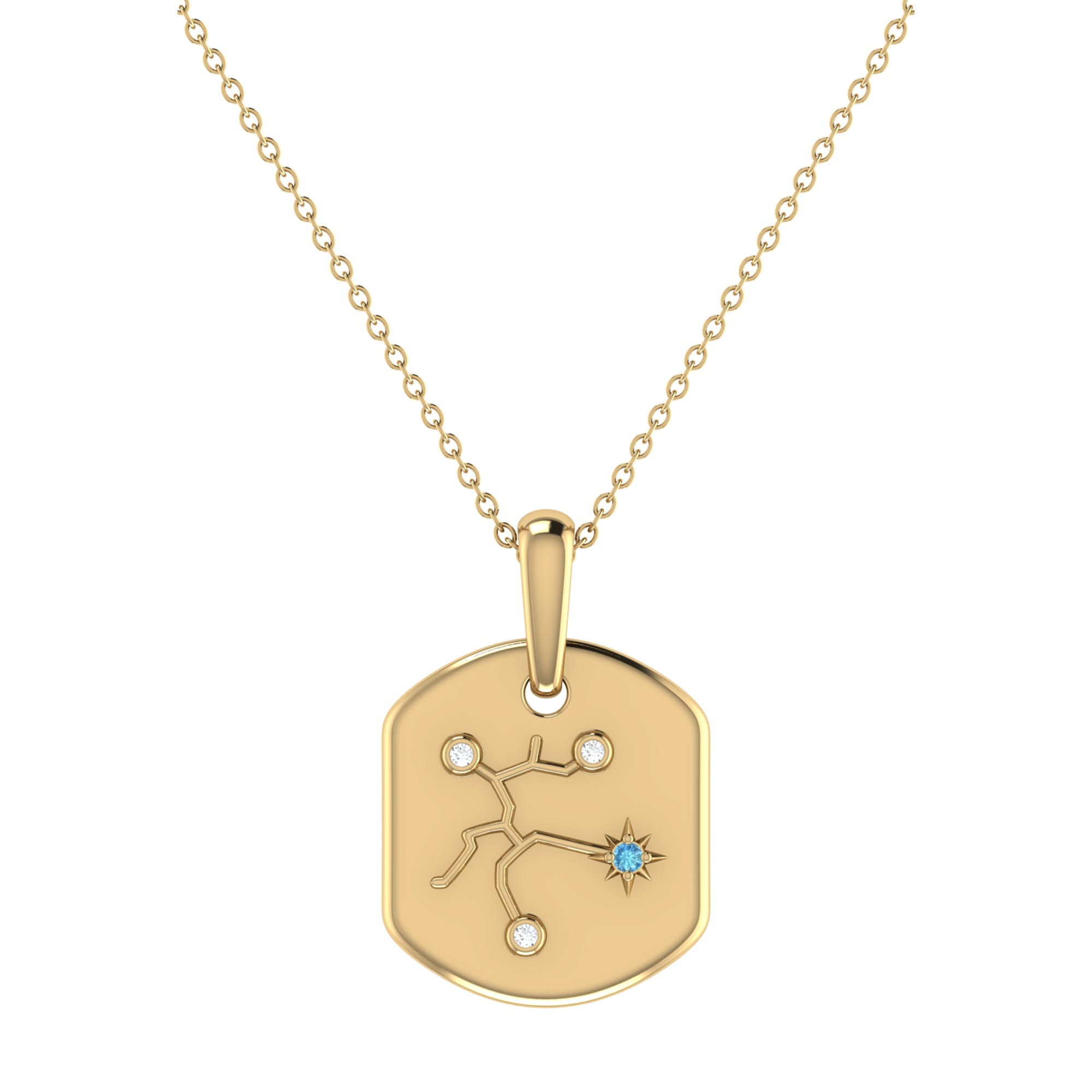 Diamond and Blue Topaz Sagittarius Constellation Tag Necklace in 14k Yellow Gold Plated Sterling Silver