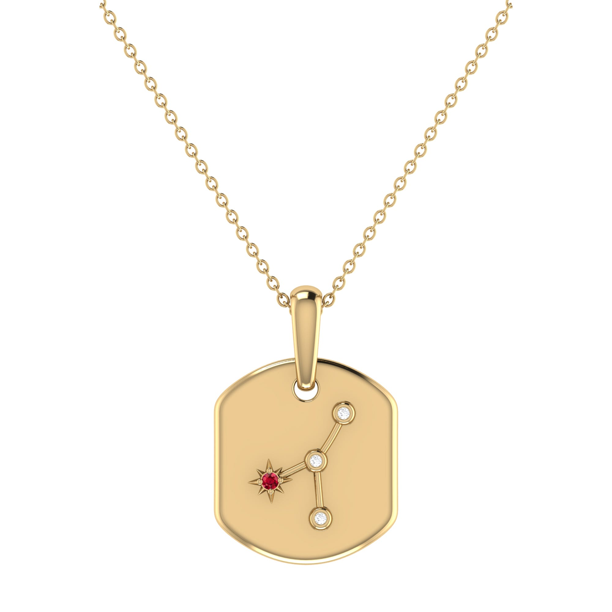 Diamond and Ruby Cancer Constellation Tag Necklace in 14k Yellow Gold Plated Sterling Silver