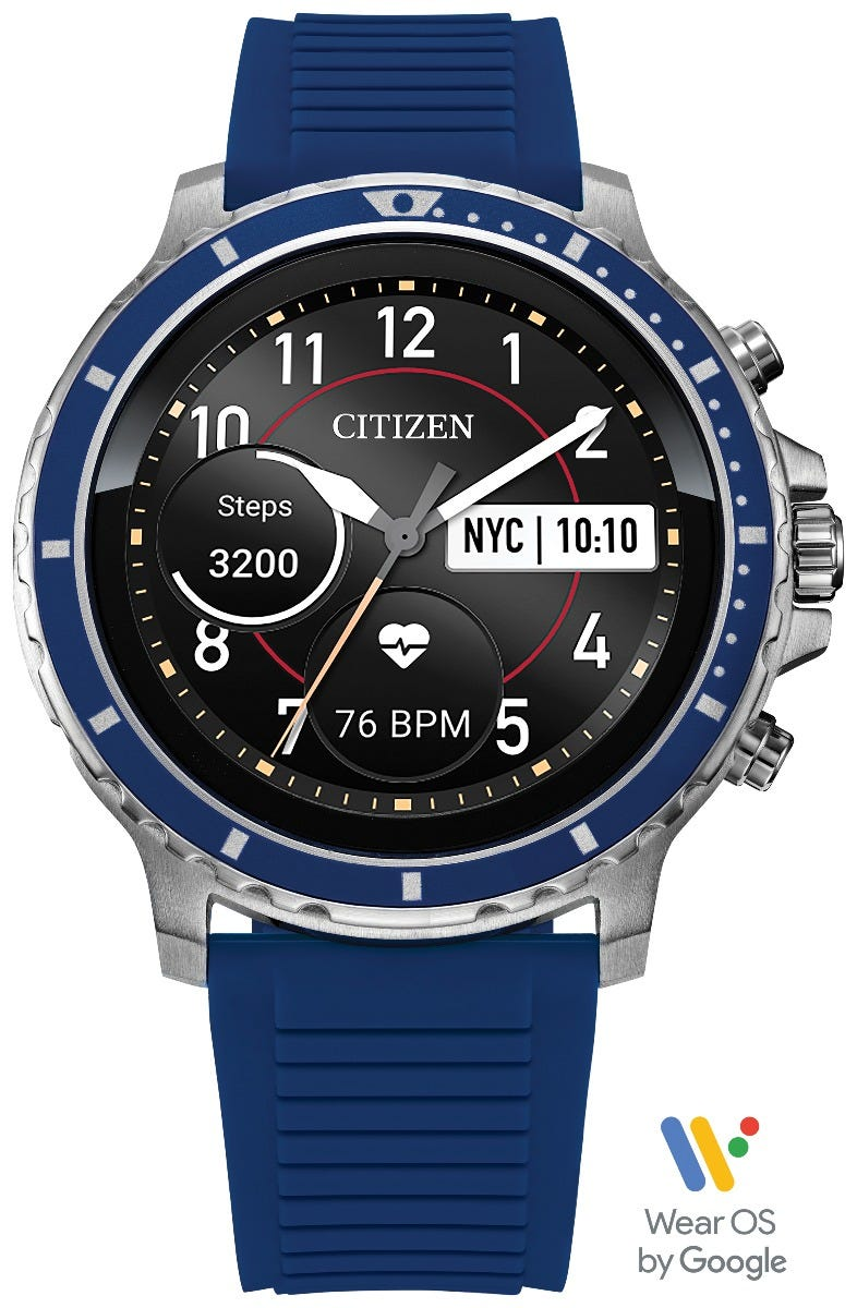 Citizen CZ Smart HR Heart Rate Blue Silicon Stainless Steel Smartwatch MX0001-12X, Powered by Wear OS